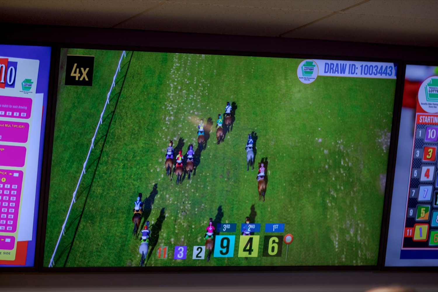"<a href=""https://filesource.wostreaming.net/commonwealthofpa/photo/17265_Lottery_Derby_Cash_NK_002.JPG"" target=""_blank"">⇣ Download Photo<br></a>The Pennsylvania Lottery today launched Derby Cash Horse Racing, a new and highly anticipated virtual horse racing game that will have players on the edge of their seats. Every five minutes, players have the chance to win up to $800,000 on a $1 play. Purchases can be made anywhere Lottery games are sold and races can be watched at nearly 2,000 of the Lotterys retailers, mainly at bars and restaurants."