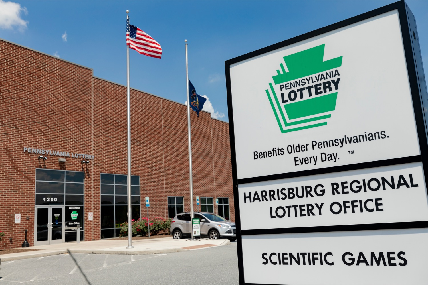 "<a href=""https://filesource.wostreaming.net/commonwealthofpa/photo/17276_LOTTERY_Building_NK_014.JPG"" target=""_blank"">⇣ Download Photo<br></a>The exterior of the Pennsylvania Lottery Office is pictured in Middletown on July 19, 2019."