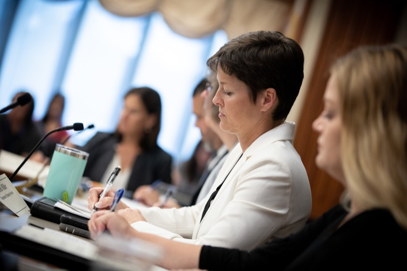 "<a href=""https://filesource.wostreaming.net/commonwealthofpa/photo/17380_dhs_first_lady_college_dz_011.jpg"" target=""_blank"">⇣ Download Photo<br></a>Harrisburg, PA  Human Services Secretary Teresa Miller taking notes at the  Roundtable. First Lady Frances Wolf today hosted a roundtable discussion with Education Secretary Pedro Rivera, Human Services Secretary Teresa Miller, higher education professionals, students, and anti-hunger advocates to discuss ways to address hunger and food insecurity on college campuses. Wednesday, September 11 2019"