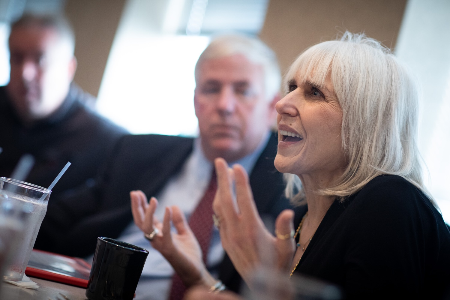 """<a href=""""https://filesource.wostreaming.net/commonwealthofpa/photo/17386_treasurer_retirement_dz_015.jpg"""" target=""""_blank"""">⇣Download Photo<br></a>Philadelphia, PA  Nancy Morozin, owner of the Dining Car discussed the proposed Keystone Saves Auto-IRA program at the Dining Car in Philadelphia.  Pennsylvania Treasurer Joe Torsella, Senator Art Haywood and Representative Mike Driscoll today met with Nancy Morozin, owner of the Dining Car in Philadelphia, to discuss the proposed Keystone Saves auto-IRA program. Friday September, 20 2019"""