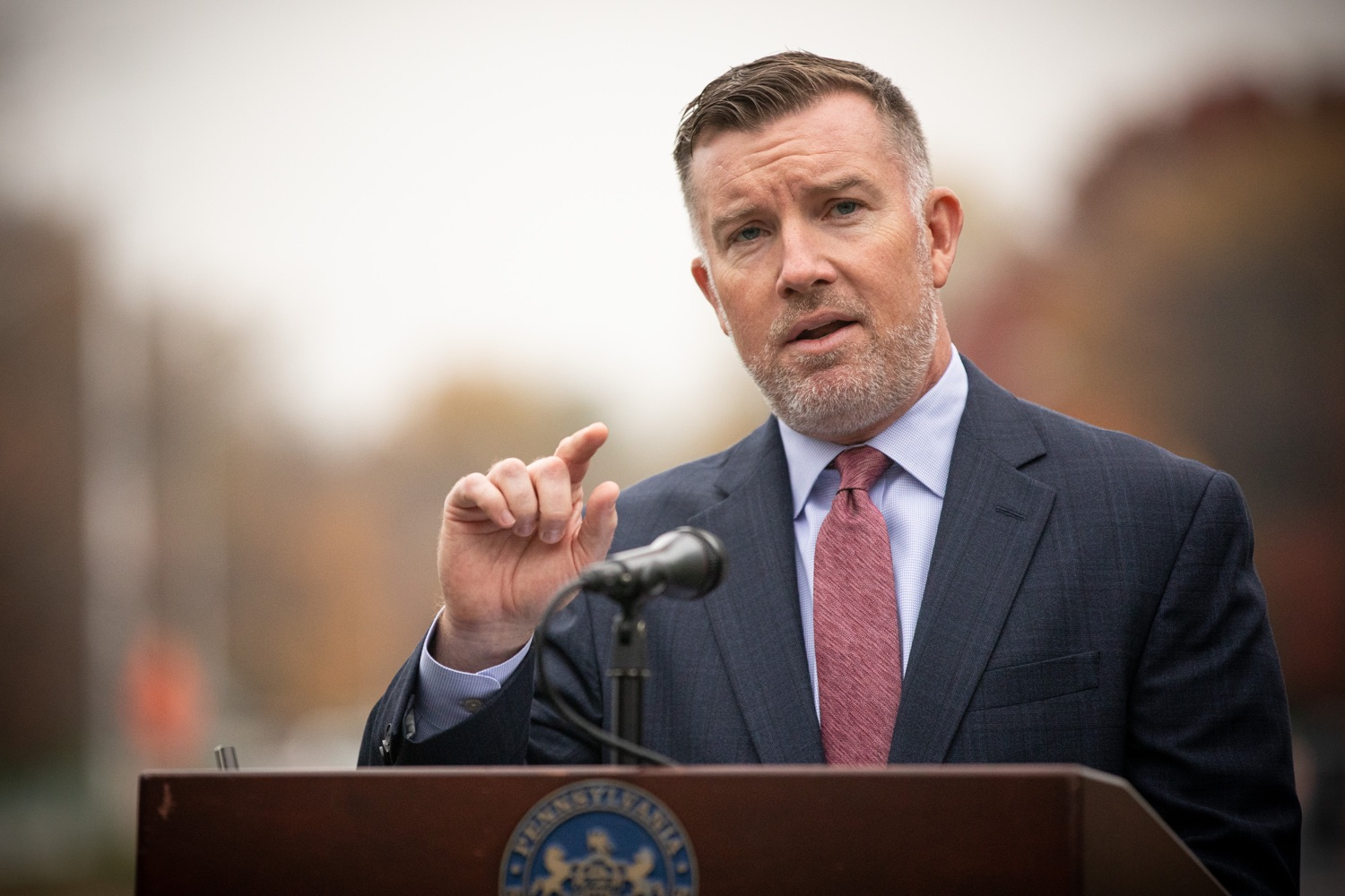 "<a href=""https://filesource.wostreaming.net/commonwealthofpa/photo/17390_penndot_awzse_dz_003.jpg"" target=""_blank"">⇣ Download Photo<br></a>Harrisburg, PA  PA Turnpike CEO Mark Compton speaks at the Automated Work Zone Speed Enforcement (AWZSE) pilot program announcement.  The Pennsylvania Department of Transportation (PennDOT) and the Pennsylvania Turnpike Commission (PTC), in partnership with the Pennsylvania State Police (PSP), today announced the implementation of a statewide Automated Work Zone Speed Enforcement (AWZSE) pilot program to reduce work zone speeds, change driver behavior, and improve work zone safety for workers and motorists. Wednesday, October 30, 2019"