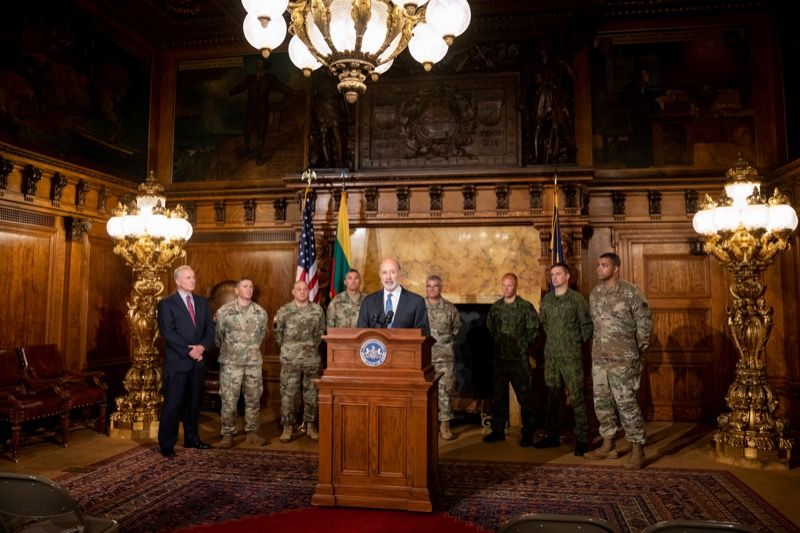 "<a href=""https://filesource.wostreaming.net/commonwealthofpa/photo/17406_GOV_Poland_Lithuania_NK_003.JPG"" target=""_blank"">⇣ Download Photo<br></a>Governor Tom Wolf outlines his plans for a trip to Lithuania and Poland inside the Governor's Reception Room at the State Capitol building in Harrisburg on Friday, September 6, 2019."