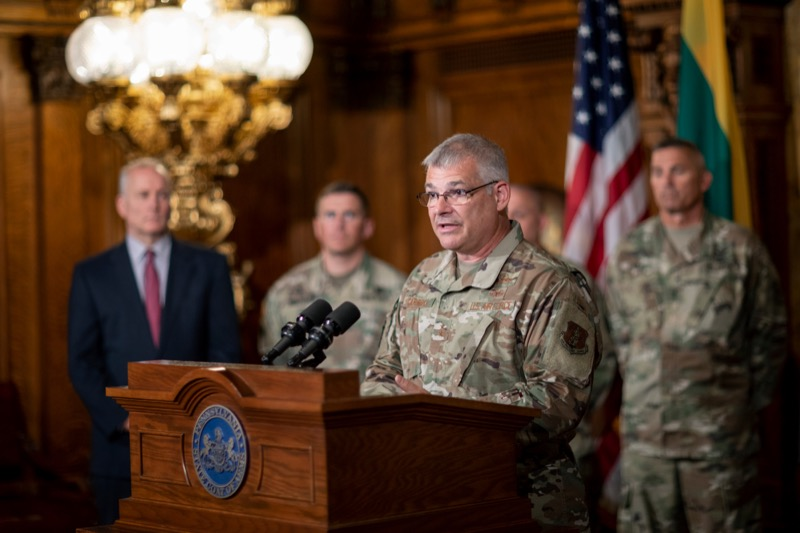 "<a href=""https://filesource.wostreaming.net/commonwealthofpa/photo/17406_GOV_Poland_Lithuania_NK_010.JPG"" target=""_blank"">⇣ Download Photo<br></a>Major Gen. Anthony J. Carrelli, Pennsylvania's adjutant general and head of the state Department of Military and Veterans Affairs, speaks inside the Governor's Reception Room at the State Capitol building in Harrisburg on Friday, September 6, 2019."