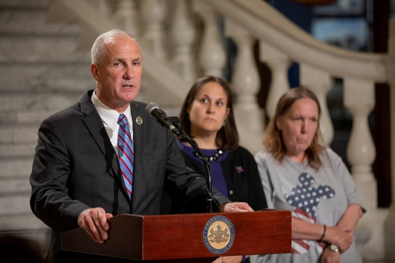 """<a href=""""https://filesource.wostreaming.net/commonwealthofpa/photo/17407_DDAP_FASD_Awareness_Day_NK_014.JPG"""" target=""""_blank"""">⇣Download Photo<br></a>State Rep Thomas P. Murt speaks as Jean Searle, a self-advocate for Disability Rights Pennsylvania, right, and Jennifer Smith, Secretary of Drug and Alcohol Programs, center, listen during a press conference observing International Fetal Alcohol Spectrum Disorder Awareness Day inside the Capitol rotunda on Monday, September 9, 2019."""