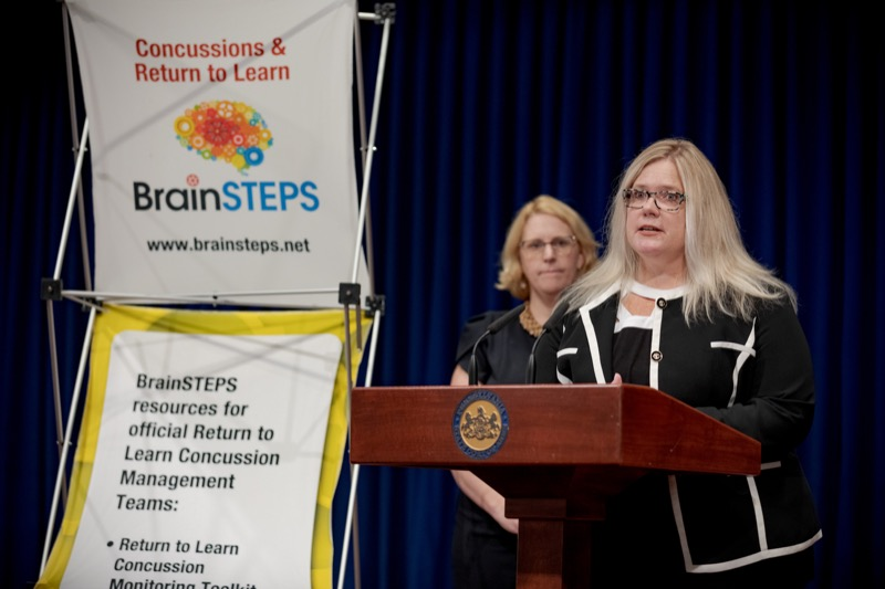 """<a href=""""https://filesource.wostreaming.net/commonwealthofpa/photo/17411_DOH_Brain_Injuries_NK_005.JPG"""" target=""""_blank"""">⇣Download Photo<br></a>Dr. Brenda Eagan-Johnson, of BrainSTEPS Brain Injury School Consulting Program, speaks during a press conference on traumatic brain injuries inside the Capitol Media Center on Thursday, September 12, 2019."""