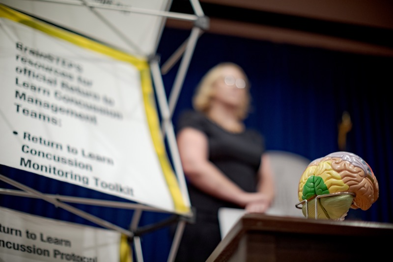 """<a href=""""https://filesource.wostreaming.net/commonwealthofpa/photo/17411_DOH_Brain_Injuries_NK_006.JPG"""" target=""""_blank"""">⇣Download Photo<br></a>A model brain is pictured during a press conference on traumatic brain injuries inside the Capitol Media Center on Thursday, September 12, 2019."""
