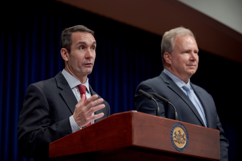 "<a href=""https://filesource.wostreaming.net/commonwealthofpa/photo/17417_AUD_GEN_Harrisburg_School_District_NK_002.JPG"" target=""_blank"">⇣ Download Photo<br></a>Auditor General Eugene DePasquale, left, and Dr. John George, acting superintendent for Harrisburg School District, speak during a press conference on the continued monitoring of Harrisburg School District's financial recover inside the Capitol Media Center on Friday, September 13, 2019."