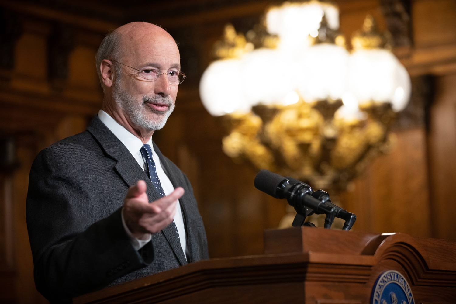 """<a href=""""https://filesource.wostreaming.net/commonwealthofpa/photo/17423_gov_trip_recap_dz_002.jpg"""" target=""""_blank"""">⇣Download Photo<br></a>Harrisburg, PA  Governor Tom Wolf speaking about his recent visit to Lithuania and Poland.   Governor Tom Wolf today highlighted the second half of his trip abroad, including visiting with more than 500 PA National Guard (PNG) troops in Poland, and honoring the Tree of Life synagogue victims at the Auschwitz-Birkenau Memorial. Tuesday, September 17, 2019"""