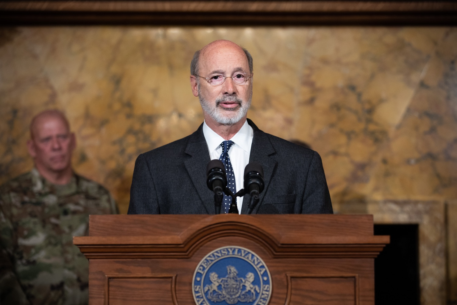 """<a href=""""https://filesource.wostreaming.net/commonwealthofpa/photo/17423_gov_trip_recap_dz_003.jpg"""" target=""""_blank"""">⇣Download Photo<br></a>Harrisburg, PA  Governor Tom Wolf speaking about his recent visit to Lithuania and Poland.  Governor Tom Wolf today highlighted the second half of his trip abroad, including visiting with more than 500 PA National Guard (PNG) troops in Poland, and honoring the Tree of Life synagogue victims at the Auschwitz-Birkenau Memorial. Tuesday, September 17, 2019"""
