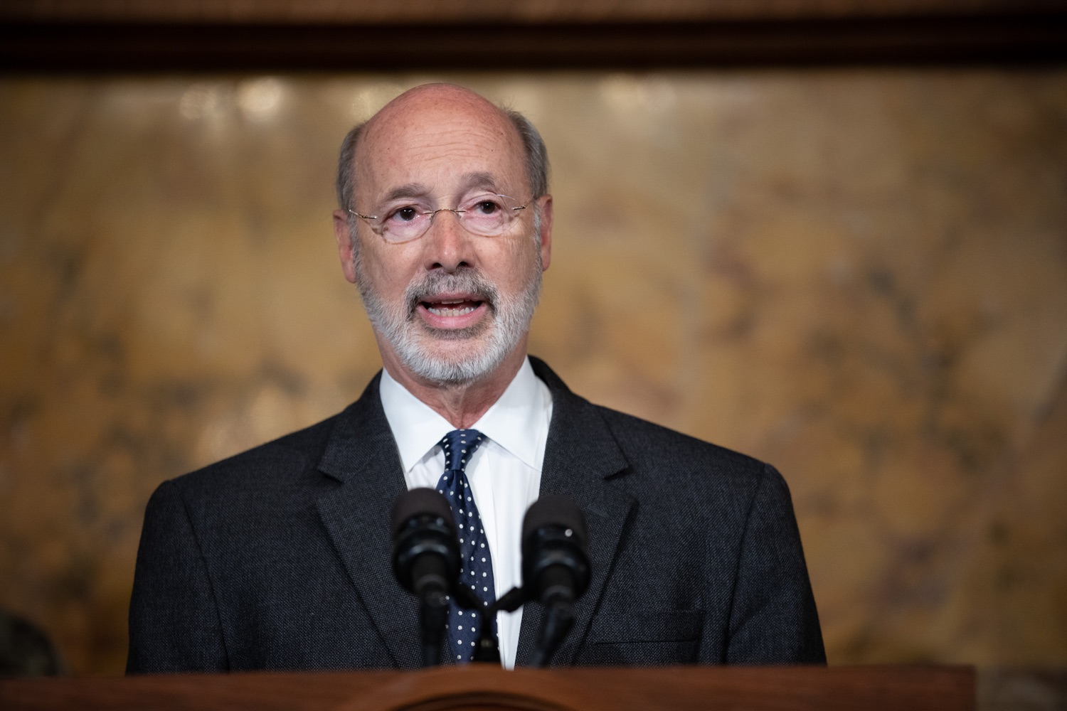 """<a href=""""https://filesource.wostreaming.net/commonwealthofpa/photo/17423_gov_trip_recap_dz_006.jpg"""" target=""""_blank"""">⇣Download Photo<br></a>Harrisburg, PA Governor Tom Wolf speaking about his recent visit to Lithuania and Poland.    Governor Tom Wolf today highlighted the second half of his trip abroad, including visiting with more than 500 PA National Guard (PNG) troops in Poland, and honoring the Tree of Life synagogue victims at the Auschwitz-Birkenau Memorial. Tuesday, September 17, 2019"""