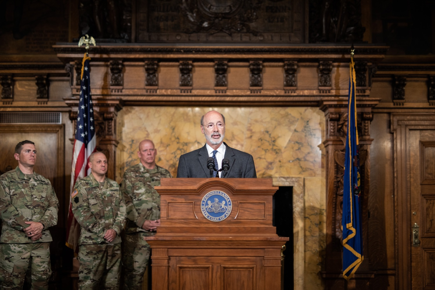 """<a href=""""https://filesource.wostreaming.net/commonwealthofpa/photo/17423_gov_trip_recap_dz_007.jpg"""" target=""""_blank"""">⇣Download Photo<br></a>Harrisburg, PA  Governor Tom Wolf speaking about his recent visit to Lithuania and Poland.  Governor Tom Wolf today highlighted the second half of his trip abroad, including visiting with more than 500 PA National Guard (PNG) troops in Poland, and honoring the Tree of Life synagogue victims at the Auschwitz-Birkenau Memorial. Tuesday, September 17, 2019"""