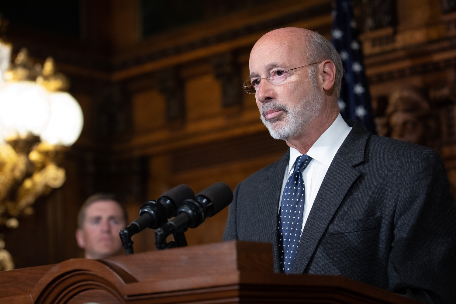 """<a href=""""https://filesource.wostreaming.net/commonwealthofpa/photo/17423_gov_trip_recap_dz_008.jpg"""" target=""""_blank"""">⇣Download Photo<br></a>Harrisburg, PA  Governor Tom Wolf speaking about his recent visit to Lithuania and Poland.  Governor Tom Wolf today highlighted the second half of his trip abroad, including visiting with more than 500 PA National Guard (PNG) troops in Poland, and honoring the Tree of Life synagogue victims at the Auschwitz-Birkenau Memorial. Tuesday, September 17, 2019"""