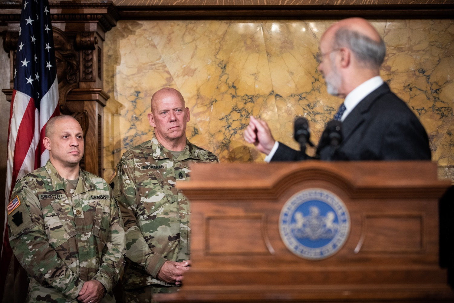 """<a href=""""https://filesource.wostreaming.net/commonwealthofpa/photo/17423_gov_trip_recap_dz_009.jpg"""" target=""""_blank"""">⇣Download Photo<br></a>Harrisburg, PA  Governor Tom Wolf speaking about his recent visit to Lithuania and Poland.  Governor Tom Wolf today highlighted the second half of his trip abroad, including visiting with more than 500 PA National Guard (PNG) troops in Poland, and honoring the Tree of Life synagogue victims at the Auschwitz-Birkenau Memorial. Tuesday, September 17, 2019"""
