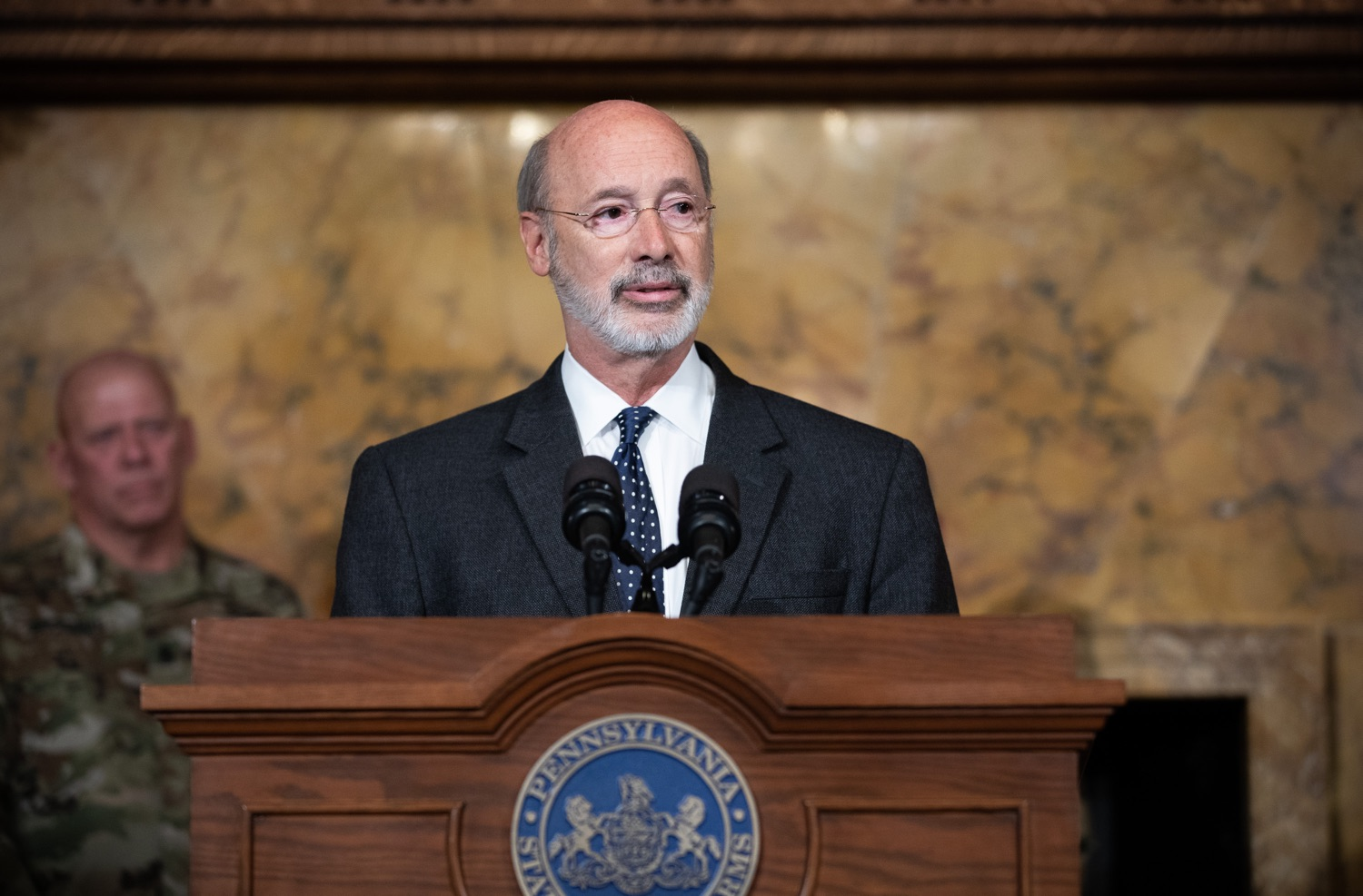 """<a href=""""https://filesource.wostreaming.net/commonwealthofpa/photo/17423_gov_trip_recap_dz_010.jpg"""" target=""""_blank"""">⇣Download Photo<br></a>Harrisburg, PA  Governor Tom Wolf speaking about his recent visit to Lithuania and Poland.  Governor Tom Wolf today highlighted the second half of his trip abroad, including visiting with more than 500 PA National Guard (PNG) troops in Poland, and honoring the Tree of Life synagogue victims at the Auschwitz-Birkenau Memorial. Tuesday, September 17, 2019"""