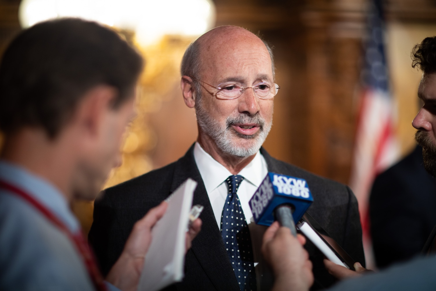 """<a href=""""https://filesource.wostreaming.net/commonwealthofpa/photo/17423_gov_trip_recap_dz_011.jpg"""" target=""""_blank"""">⇣Download Photo<br></a>Harrisburg, PA  Governor Tom Wolf speaking with the press.   Governor Tom Wolf today highlighted the second half of his trip abroad, including visiting with more than 500 PA National Guard (PNG) troops in Poland, and honoring the Tree of Life synagogue victims at the Auschwitz-Birkenau Memorial. Tuesday, September 17, 2019"""