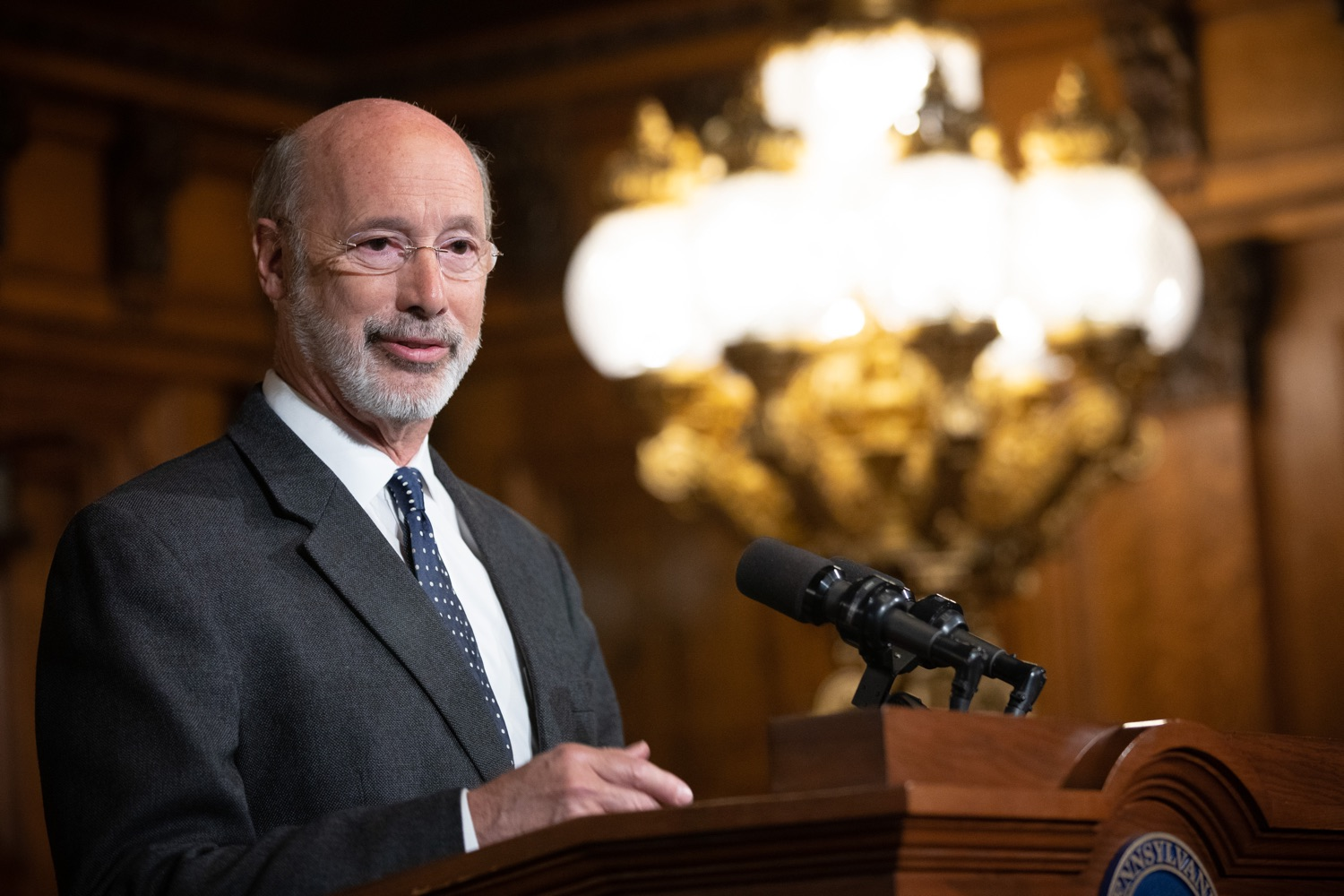 """<a href=""""https://filesource.wostreaming.net/commonwealthofpa/photo/17423_gov_trip_recap_dz_012.jpg"""" target=""""_blank"""">⇣Download Photo<br></a>Harrisburg, PA  Governor Tom Wolf speaking about his recent visit to Lithuania and Poland.   Governor Tom Wolf today highlighted the second half of his trip abroad, including visiting with more than 500 PA National Guard (PNG) troops in Poland, and honoring the Tree of Life synagogue victims at the Auschwitz-Birkenau Memorial. Tuesday, September 17, 2019"""