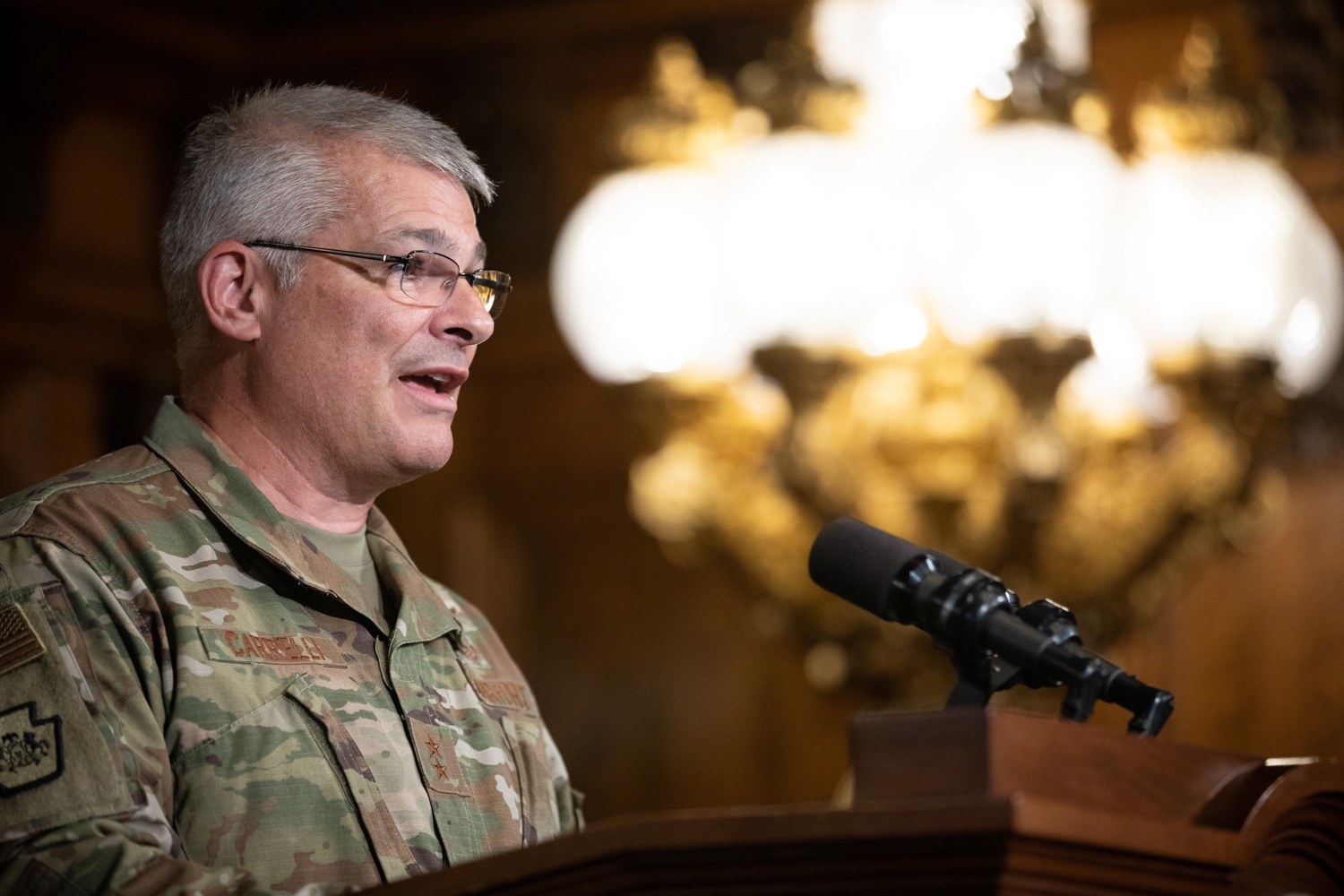 """<a href=""""https://filesource.wostreaming.net/commonwealthofpa/photo/17423_gov_trip_recap_dz_013.jpg"""" target=""""_blank"""">⇣Download Photo<br></a>Harrisburg, PA  Adjutant General Maj. General Tony Carrelli about his recent visit to Lithuania and Poland. Governor Tom Wolf today highlighted the second half of his trip abroad, including visiting with more than 500 PA National Guard (PNG) troops in Poland, and honoring the Tree of Life synagogue victims at the Auschwitz-Birkenau Memorial. Tuesday, September 17, 2019"""