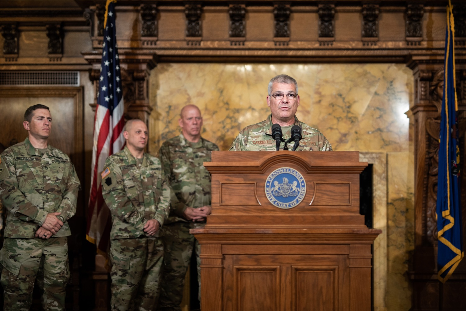 """<a href=""""https://filesource.wostreaming.net/commonwealthofpa/photo/17423_gov_trip_recap_dz_014.jpg"""" target=""""_blank"""">⇣Download Photo<br></a>Harrisburg, PA  Adjutant General Maj. General Tony Carrelli about his recent visit to Lithuania and Poland. Governor Tom Wolf today highlighted the second half of his trip abroad, including visiting with more than 500 PA National Guard (PNG) troops in Poland, and honoring the Tree of Life synagogue victims at the Auschwitz-Birkenau Memorial. Tuesday, September 17, 2019"""