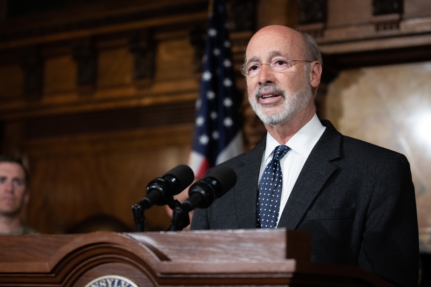 """<a href=""""https://filesource.wostreaming.net/commonwealthofpa/photo/17423_gov_trip_recap_dz_015.jpg"""" target=""""_blank"""">⇣Download Photo<br></a>Harrisburg, PA  Governor Tom Wolf speaking about his recent visit to Lithuania and Poland.  Governor Tom Wolf today highlighted the second half of his trip abroad, including visiting with more than 500 PA National Guard (PNG) troops in Poland, and honoring the Tree of Life synagogue victims at the Auschwitz-Birkenau Memorial. Tuesday, September 17, 2019"""