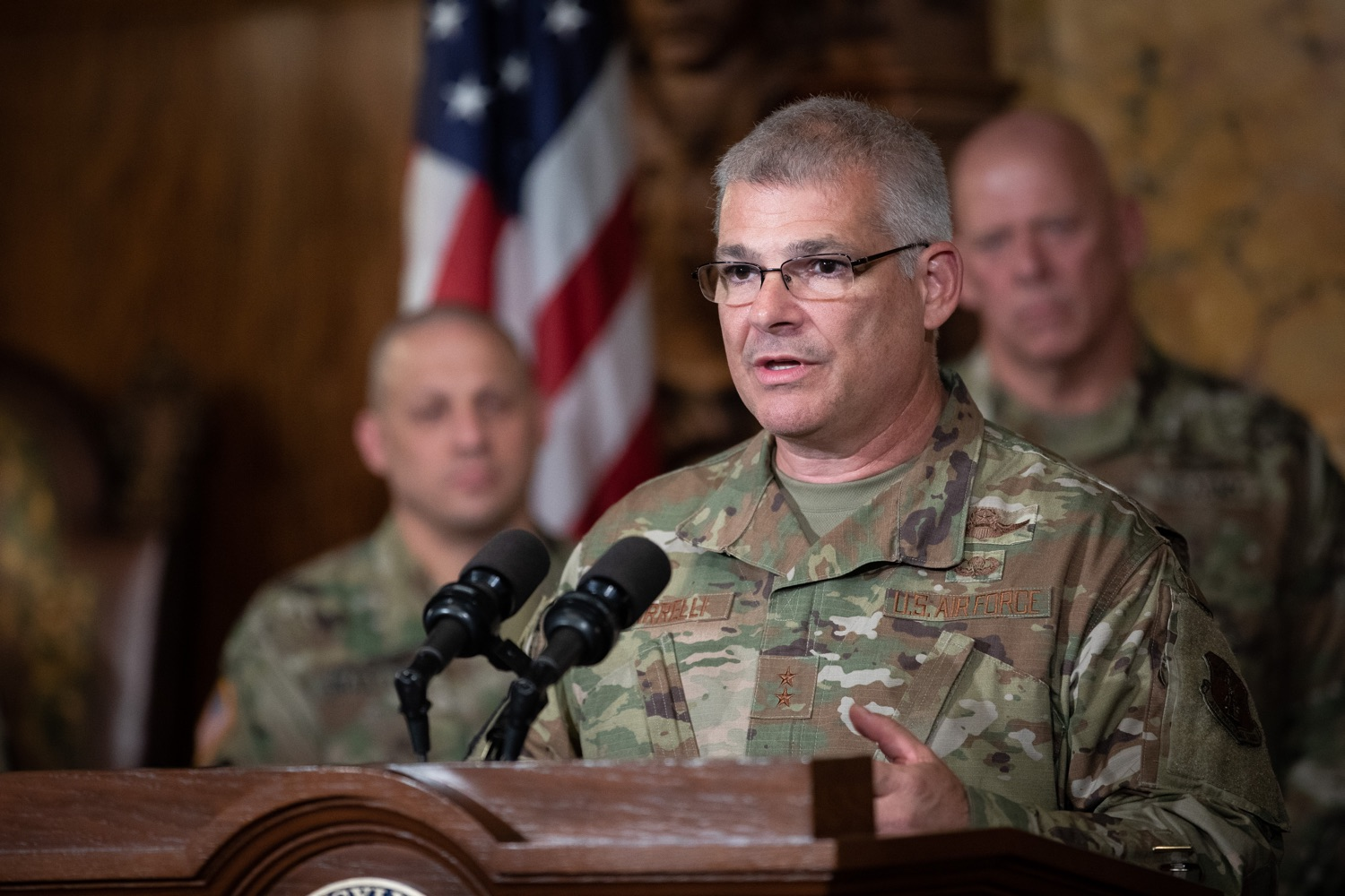 """<a href=""""https://filesource.wostreaming.net/commonwealthofpa/photo/17423_gov_trip_recap_dz_016.jpg"""" target=""""_blank"""">⇣Download Photo<br></a>Harrisburg, PA  Adjutant General Maj. General Tony Carrelli about his recent visit to Lithuania and Poland. Governor Tom Wolf today highlighted the second half of his trip abroad, including visiting with more than 500 PA National Guard (PNG) troops in Poland, and honoring the Tree of Life synagogue victims at the Auschwitz-Birkenau Memorial. Tuesday, September 17, 2019"""