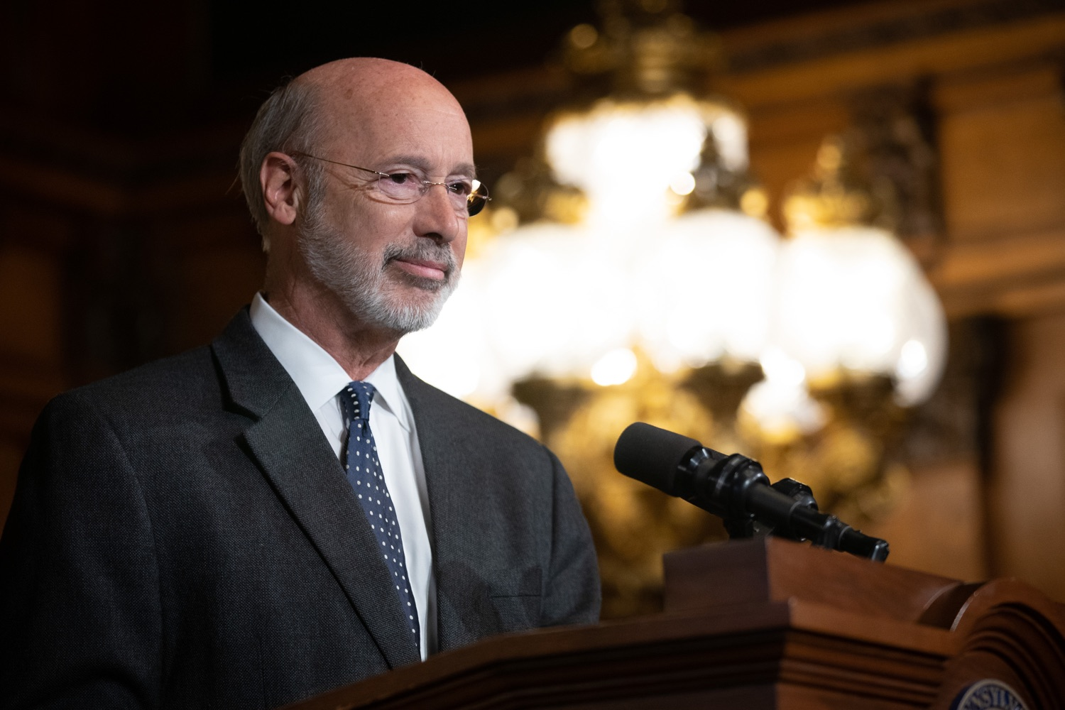 """<a href=""""https://filesource.wostreaming.net/commonwealthofpa/photo/17423_gov_trip_recap_dz_017.jpg"""" target=""""_blank"""">⇣Download Photo<br></a>Harrisburg, PA  Governor Tom Wolf speaking about his recent visit to Lithuania and Poland.  Governor Tom Wolf today highlighted the second half of his trip abroad, including visiting with more than 500 PA National Guard (PNG) troops in Poland, and honoring the Tree of Life synagogue victims at the Auschwitz-Birkenau Memorial.  Tuesday, September 17, 2019"""