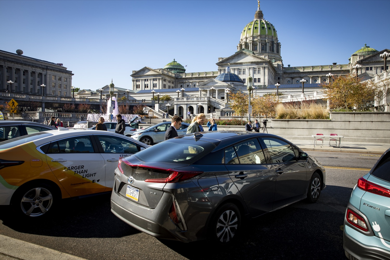 """<a href=""""https://filesource.wostreaming.net/commonwealthofpa/photo/17449_DGS_DRIVE_ELECTRIC_CZ_02.JPG"""" target=""""_blank"""">⇣Download Photo<br></a>Members of the public are invited to test out electric and hybrid vehicles during a Ride & Drive Event at the Capitol Complex on October 23, 2019."""
