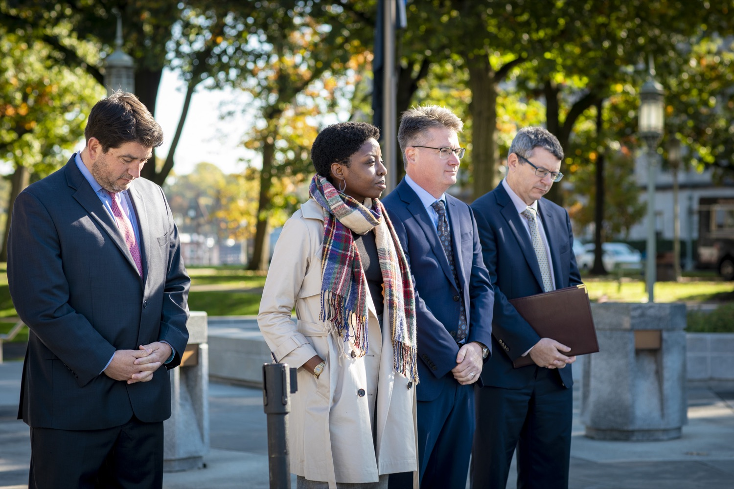 """<a href=""""https://filesource.wostreaming.net/commonwealthofpa/photo/17449_DGS_DRIVE_ELECTRIC_CZ_04.JPG"""" target=""""_blank"""">⇣Download Photo<br></a>Members of the Drive Electric PA Coalition and the interagency GreenGov Council discuss the future of electric vehicles and efforts to expand supporting infrastructure in Pennsylvania at the Capitol Complex on October 23, 2019."""