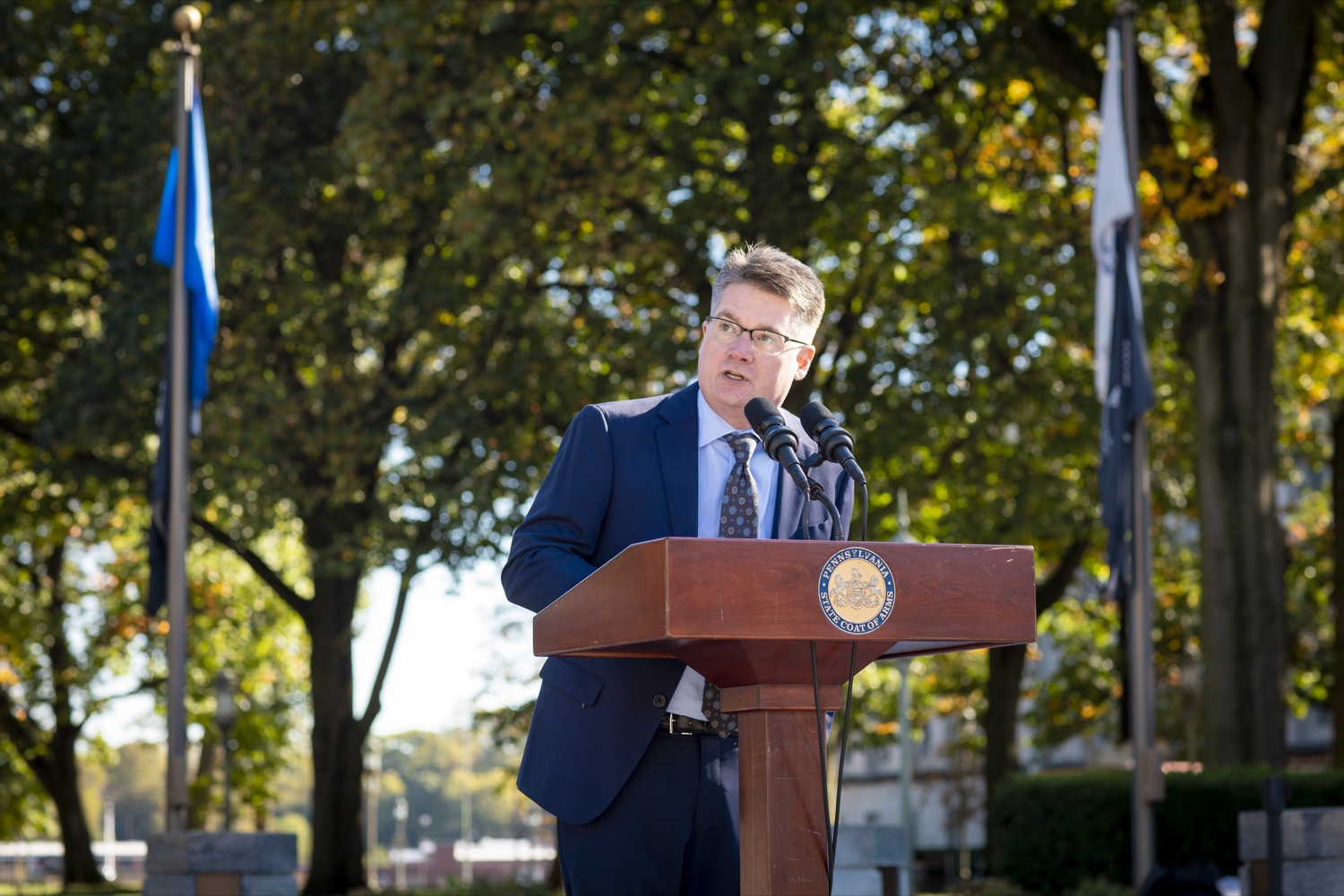 """<a href=""""https://filesource.wostreaming.net/commonwealthofpa/photo/17449_DGS_DRIVE_ELECTRIC_CZ_05.JPG"""" target=""""_blank"""">⇣Download Photo<br></a>General Services Secretary Curt Topper discusses his department's support of electric and hybrid vehicles during a Ride & Drive Event at the Capitol Complex on October 23, 2019."""