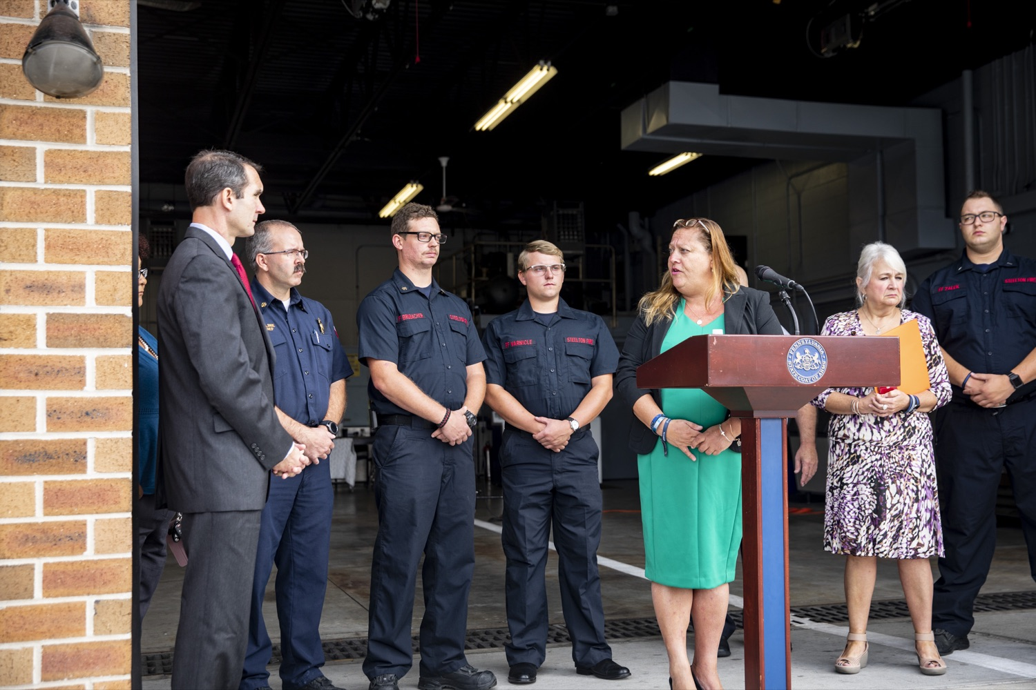 """<a href=""""https://filesource.wostreaming.net/commonwealthofpa/photo/17459_AUD_GEN_VFRA_CZ_07.JPG"""" target=""""_blank"""">⇣Download Photo<br></a>Auditor General DePasquale announces the release of nearly $60 Million to help volunteer firefighters across Pennsylvania, in Steelton, PA on October 8, 2019."""