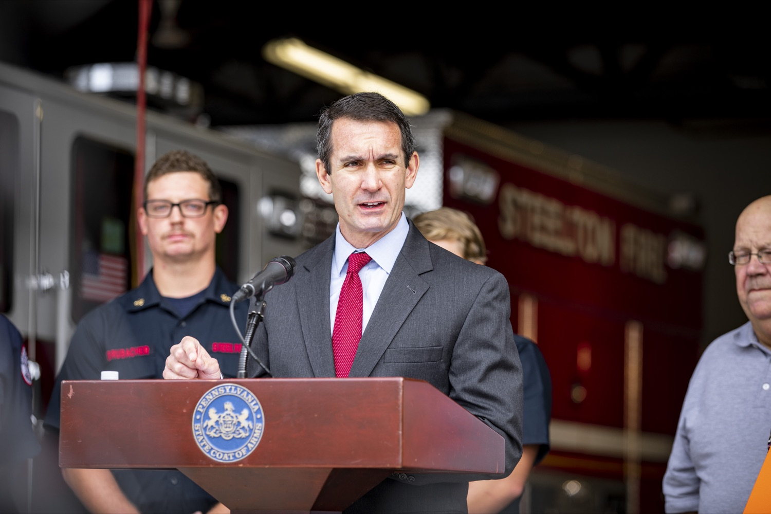 """<a href=""""https://filesource.wostreaming.net/commonwealthofpa/photo/17459_AUD_GEN_VFRA_CZ_11.JPG"""" target=""""_blank"""">⇣Download Photo<br></a>Auditor General DePasquale announces the release of nearly $60 Million to help volunteer firefighters across Pennsylvania, in Steelton, PA on October 8, 2019."""