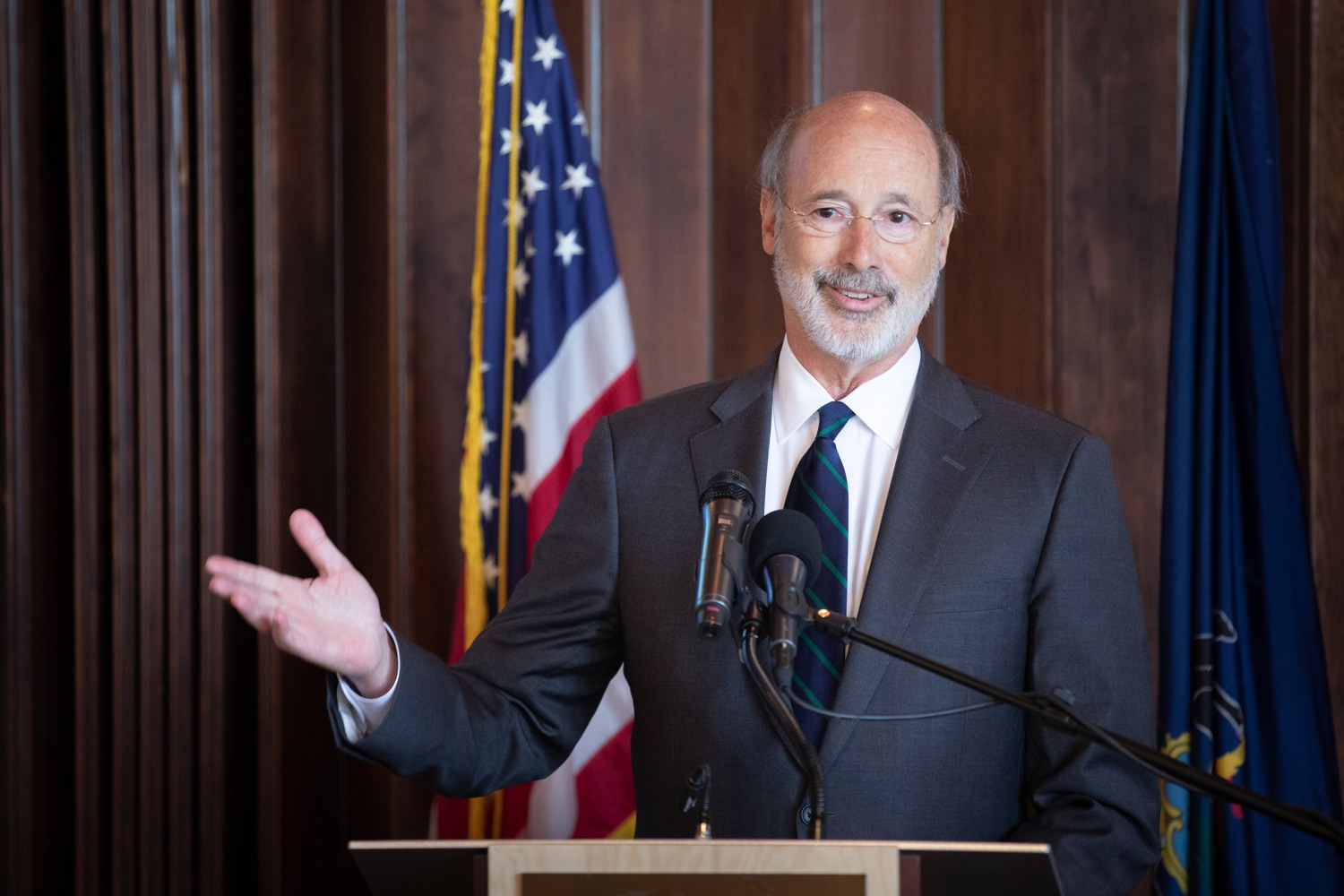 """<a href=""""https://filesource.wostreaming.net/commonwealthofpa/photo/17467_gov_opioids_dz_001.JPG"""" target=""""_blank"""">⇣Download Photo<br></a>Boalsburg, PA  Governor Tom Wolf addressing the summit.  Governor Tom Wolf today kicked off his administrations first Opioid Command Center Opioid Summit: Think Globally, Act Locally, which brought together 200 individuals helping their communities fight the opioid crisis, including community organizations, non-profits, schools, health care workers, addiction and recovery specialists, and families affected by the opioid crisis.  Tuesday, October 1, 2019"""