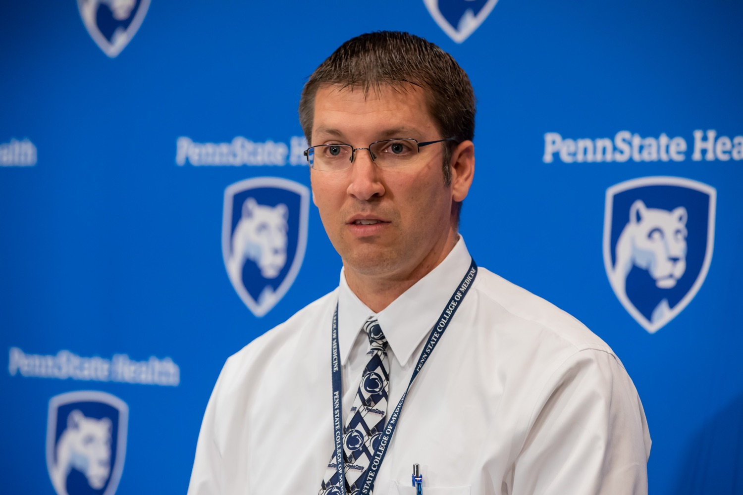 "<a href=""https://filesource.wostreaming.net/commonwealthofpa/photo/17471_DOH_FluSeason_AG_13.jpg"" target=""_blank"">⇣ Download Photo<br></a>Harrisburg, PA.  Dr. Todd Felix, family medicine physician at Penn State Health, speaks at today's event at the Penn State Health Milton S. Hershey Medical Center. The Department of Health reminded residents that it is time to get their flu vaccine, as flu season officially starts this month and runs until May. Residents are also encouraged to get their flu vaccine before the end of October.  October 8, 2019."