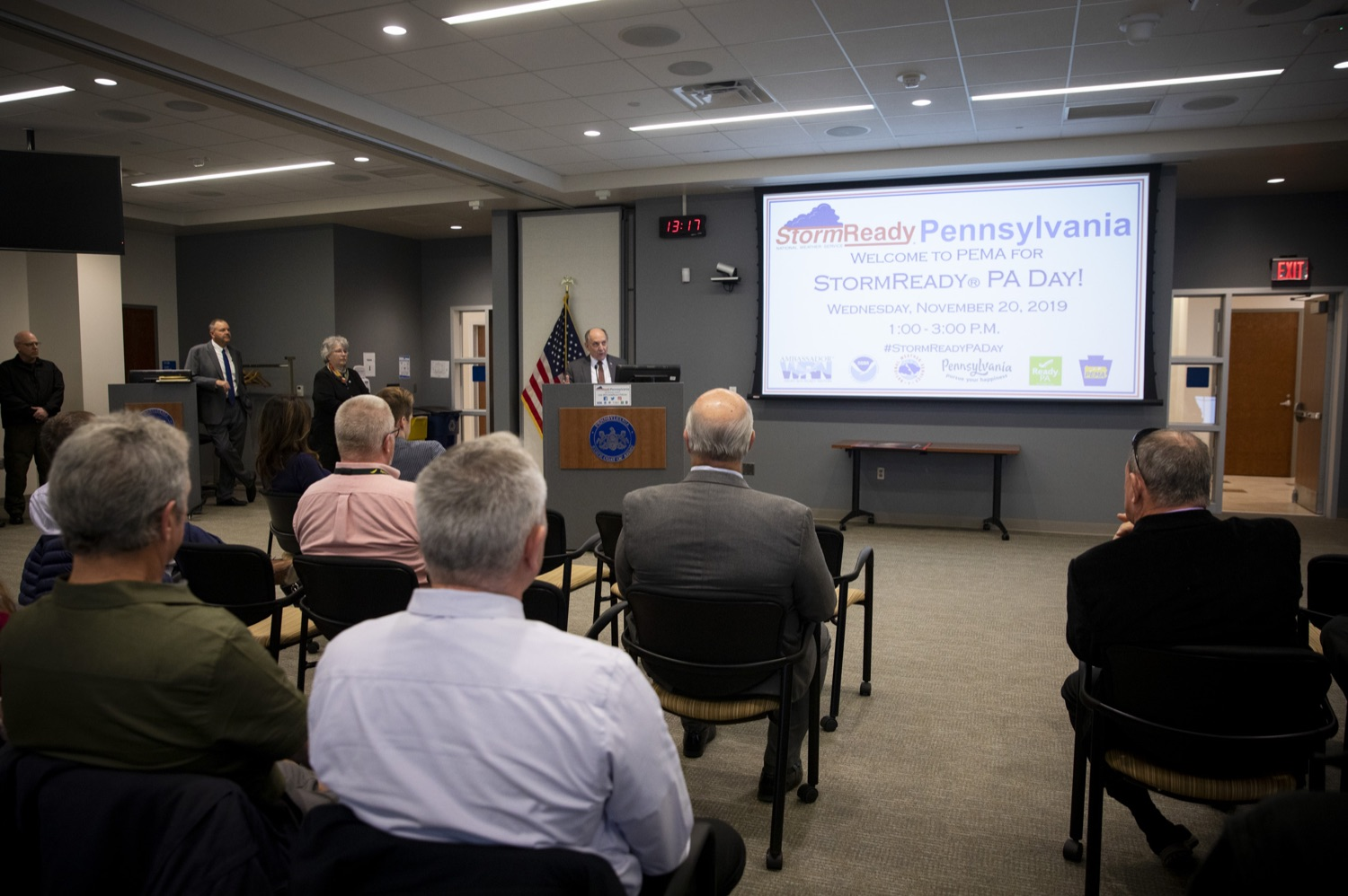 "<a href=""https://filesource.wostreaming.net/commonwealthofpa/photo/17500_pema_StormReady_cz_01.JPG"" target=""_blank"">⇣ Download Photo<br></a>National Weather Service Director Dr. Louis Uccellini, Ph.D., discusses the importance of meeting the StormReady requirements for Pennsylvania and its visitors, in Harrisburg on November 20, 2019."