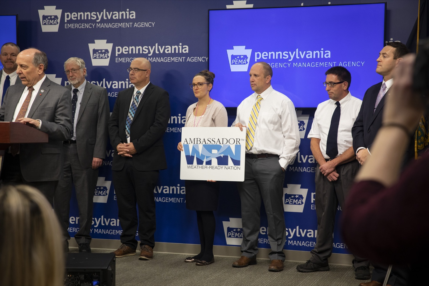 "<a href=""https://filesource.wostreaming.net/commonwealthofpa/photo/17500_pema_StormReady_cz_08.JPG"" target=""_blank"">⇣ Download Photo<br></a>Weather ambassadors from counties across Pennsylvania show their support for StormReady initiatives, in Harrisburg on November 20, 2019."
