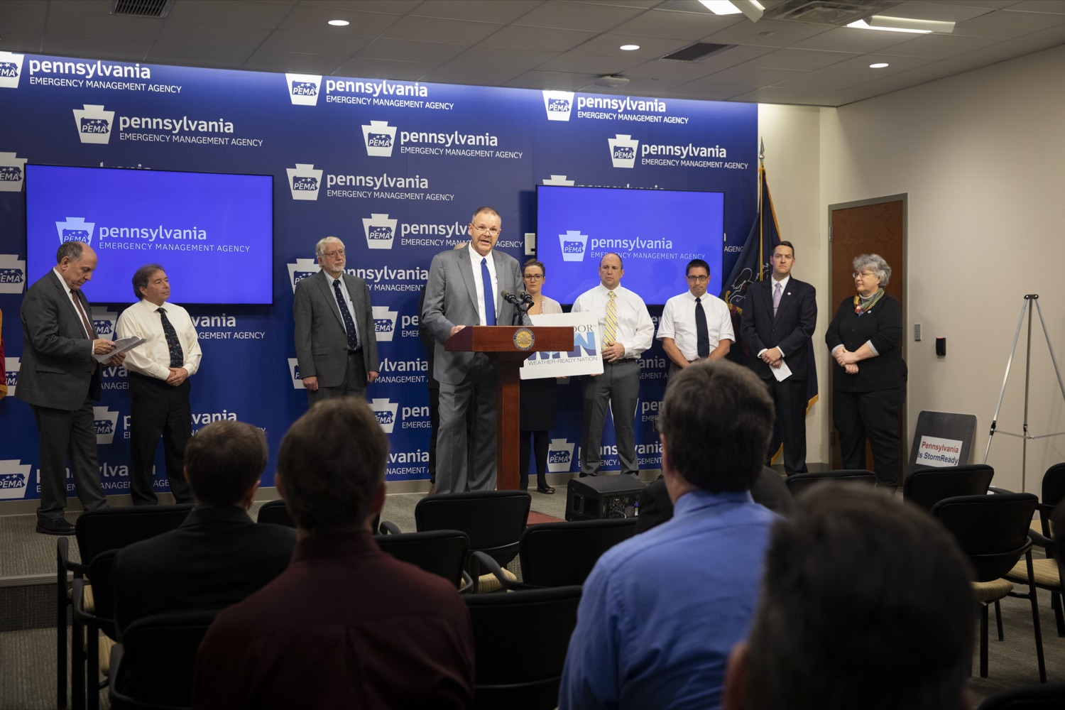 "<a href=""https://filesource.wostreaming.net/commonwealthofpa/photo/17500_pema_StormReady_cz_09.JPG"" target=""_blank"">⇣ Download Photo<br></a>PEMA Director Randy Padfield announces that Pennsylvania is one of only six states in the nation to achieve StoryReady status, in Harrisburg on November 20, 2019."