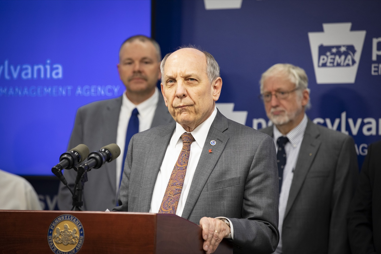 "<a href=""https://filesource.wostreaming.net/commonwealthofpa/photo/17500_pema_StormReady_cz_11.JPG"" target=""_blank"">⇣ Download Photo<br></a>National Weather Service Director Dr. Louis Uccellini, Ph.D., discusses the importance of meeting the StormReady requirements for Pennsylvania and its visitors, in Harrisburg on November 20, 2019."