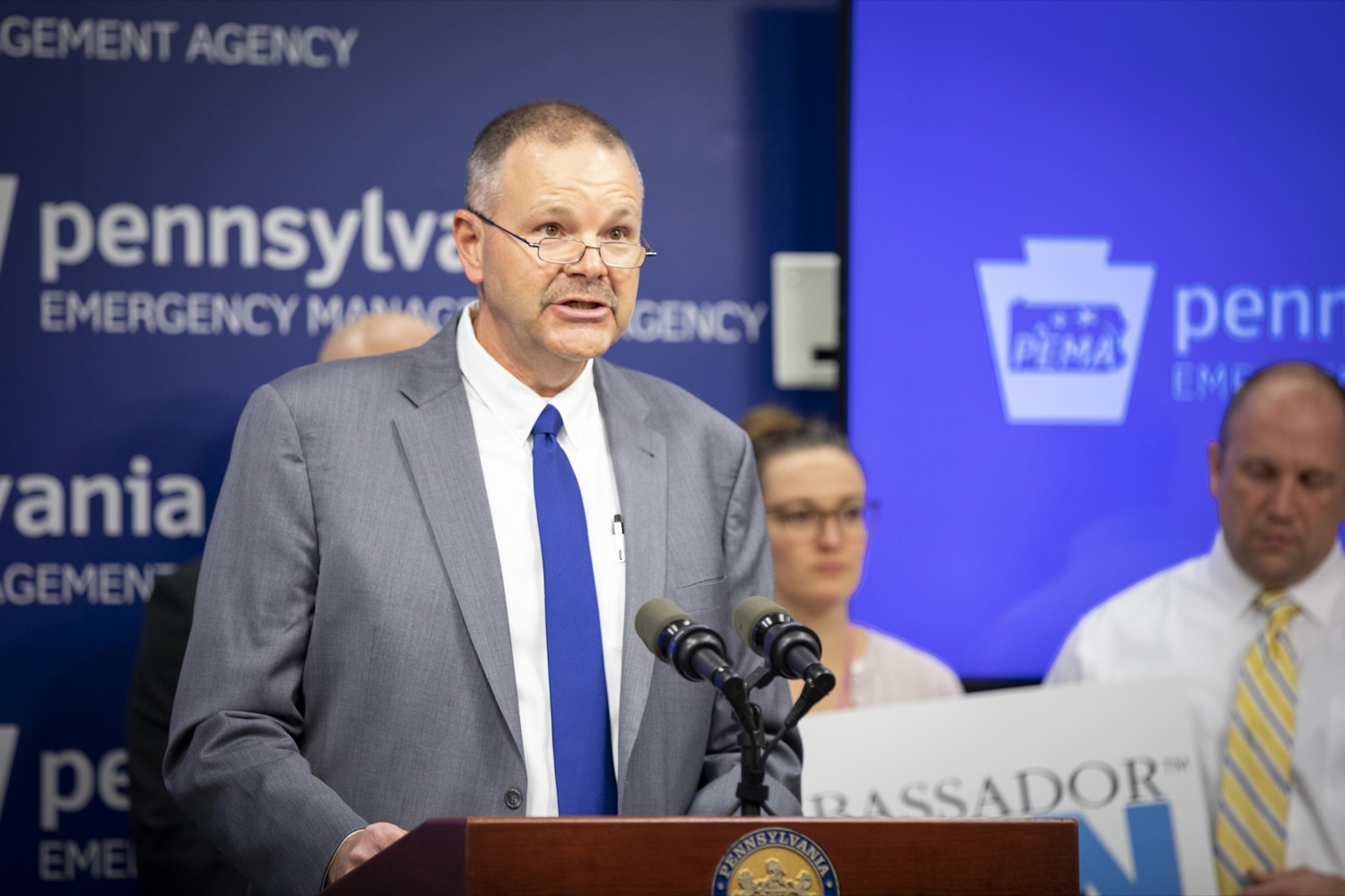 "<a href=""https://filesource.wostreaming.net/commonwealthofpa/photo/17500_pema_StormReady_cz_14.JPG"" target=""_blank"">⇣ Download Photo<br></a>PEMA Director Randy Padfield announces that Pennsylvania is one of only six states in the nation to achieve StoryReady status, in Harrisburg on November 20, 2019."