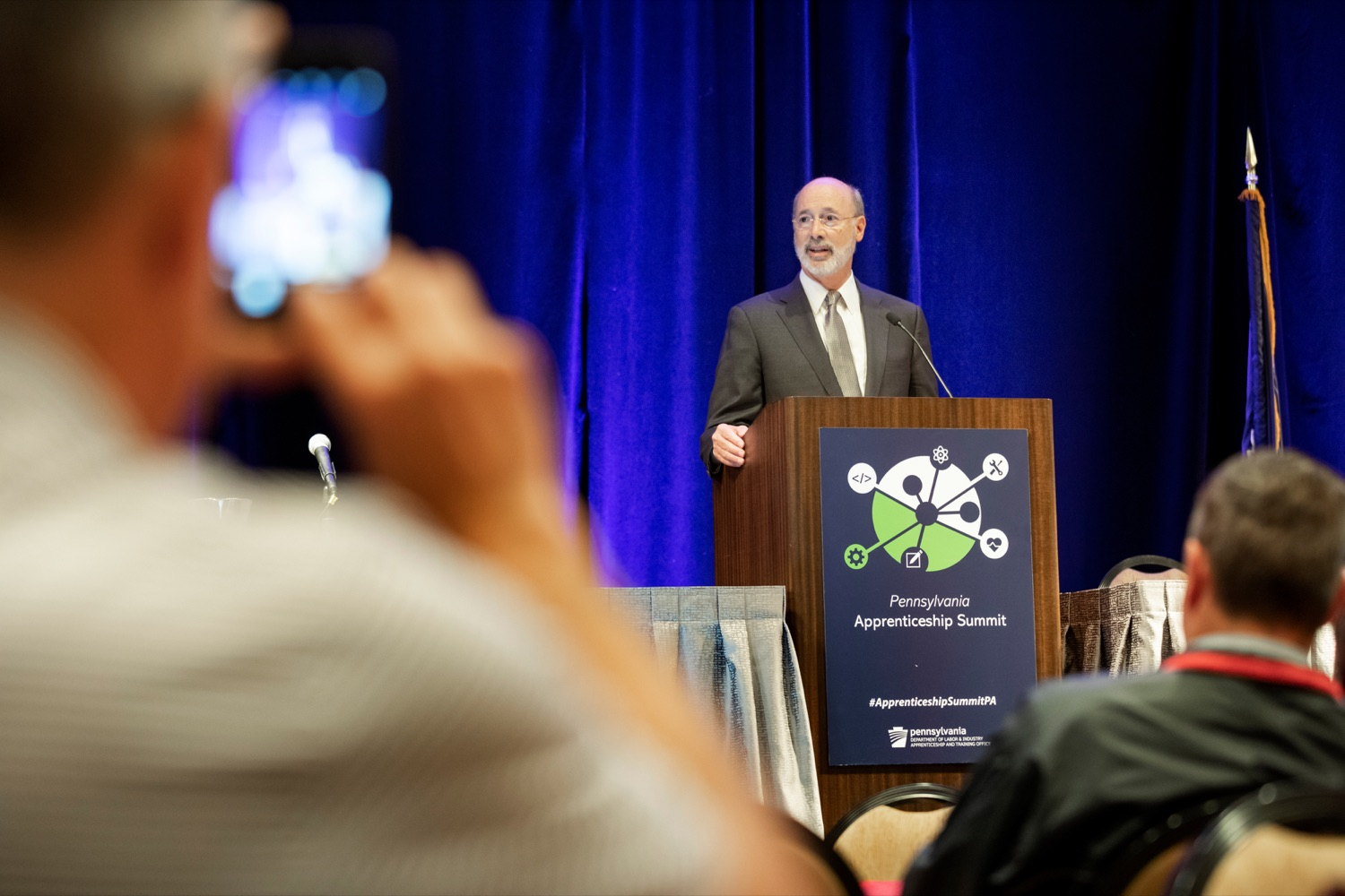"<a href=""https://filesource.wostreaming.net/commonwealthofpa/photo/17520_LandI_Apprenticeships_NK_008.JPG"" target=""_blank"">⇣ Download Photo<br></a>Pennsylvania Governor Tom Wolf speaks during the 2019 Pennsylvania Apprenticeship Summit at Hershey Lodge on Thursday, October 31, 2019."