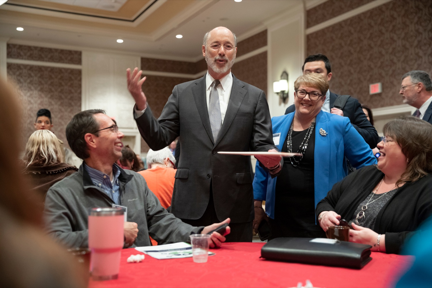 "<a href=""https://filesource.wostreaming.net/commonwealthofpa/photo/17520_LandI_Apprenticeships_NK_012.JPG"" target=""_blank"">⇣ Download Photo<br></a>Pennsylvania Governor Tom Wolf talks with people during the 2019 Pennsylvania Apprenticeship Summit at Hershey Lodge on Thursday, October 31, 2019."