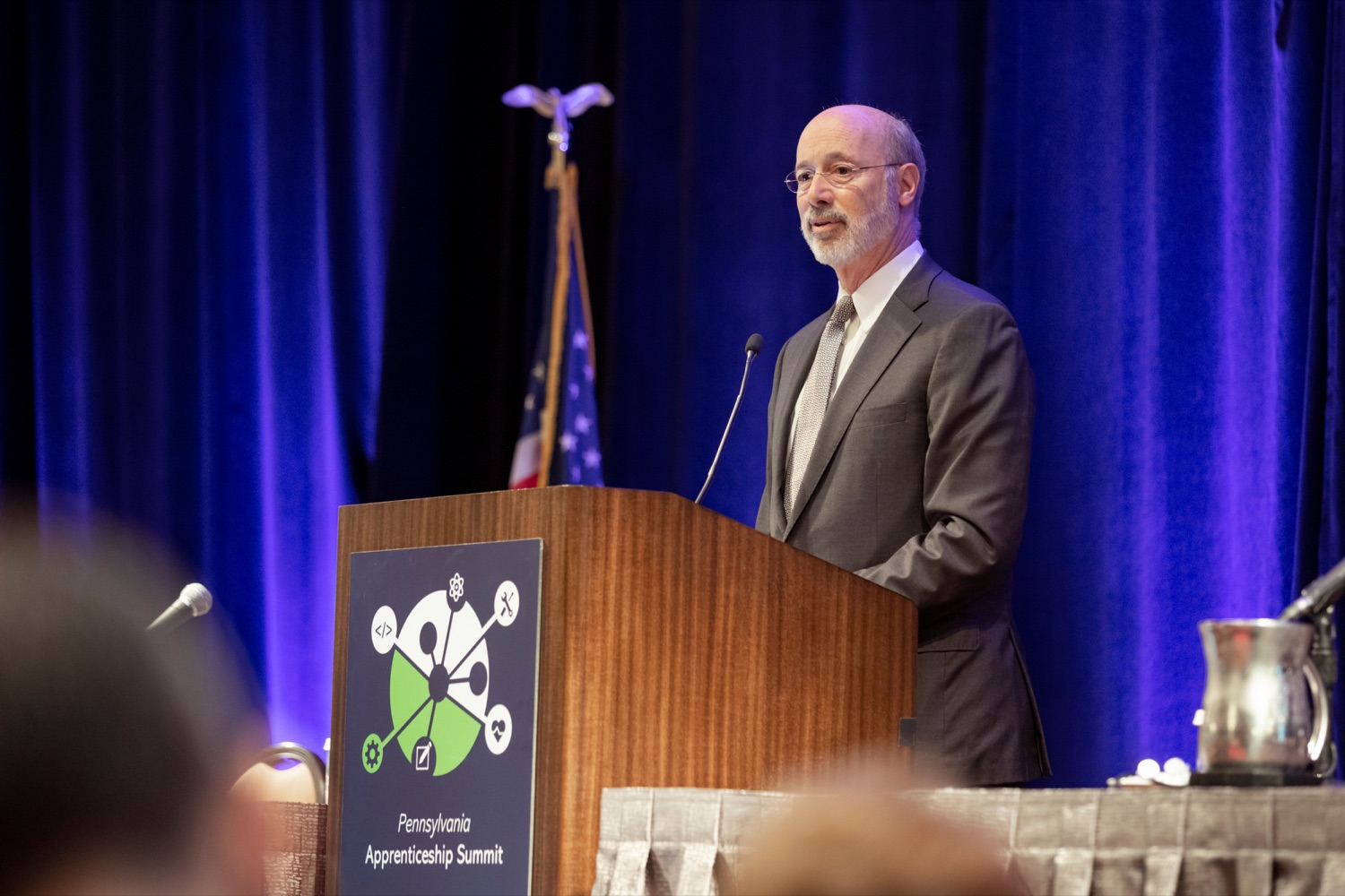 "<a href=""https://filesource.wostreaming.net/commonwealthofpa/photo/17520_LandI_Apprenticeships_NK_013.JPG"" target=""_blank"">⇣ Download Photo<br></a>Pennsylvania Governor Tom Wolf speaks during the 2019 Pennsylvania Apprenticeship Summit at Hershey Lodge on Thursday, October 31, 2019."