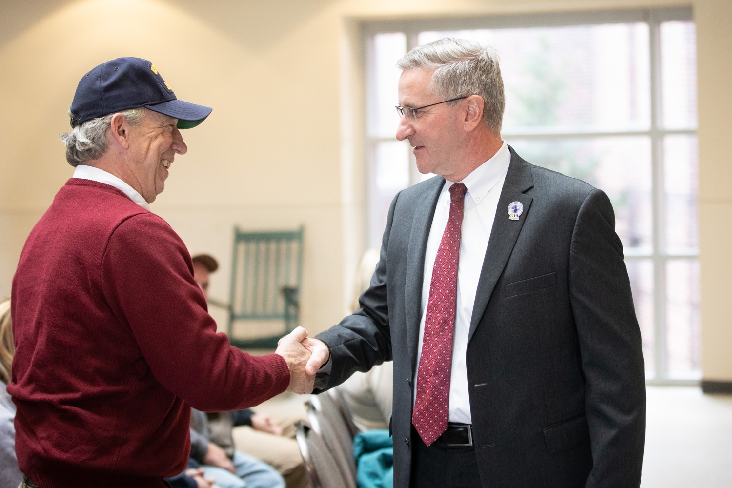"""<a href=""""https://filesource.wostreaming.net/commonwealthofpa/photo/17530_agric_homegrown_heroes_dz_012.jpg"""" target=""""_blank"""">⇣Download Photo<br></a>Agriculture Secretary Russell Redding speaks to Greg Stegall, Military Share Manager, Central Pennsylvania Food Bank   at the ceremony.  Agriculture Secretary Russell Redding and Department of Military and Veterans Affairs Brig. Gen. Mark McCormack honored members of the PA Preferred Homegrown by Heroes program for their service to our nation and to Pennsylvania, through their military service and work in agriculture. The two agencies celebrated Pennsylvanias investments in farmer-veterans in a ceremony at the Pennsylvania Farm Show Complex and Expo Center. Harrisburg, PA - Friday November, 8 2019."""