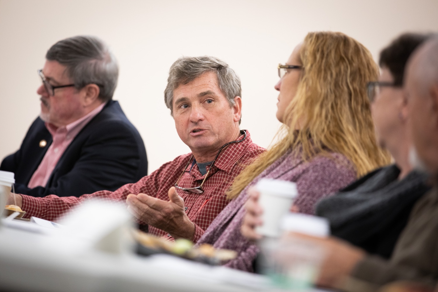 """<a href=""""https://filesource.wostreaming.net/commonwealthofpa/photo/17530_agric_homegrown_heroes_dz_023.jpg"""" target=""""_blank"""">⇣Download Photo<br></a>Joseph Kozak, Navy Lawn & Garden Care speaks at the roundtable. Agriculture Secretary Russell Redding and Department of Military and Veterans Affairs Brig. Gen. Mark McCormack honored members of the PA Preferred Homegrown by Heroes program for their service to our nation and to Pennsylvania, through their military service and work in agriculture. The two agencies celebrated Pennsylvanias investments in farmer-veterans in a ceremony at the Pennsylvania Farm Show Complex and Expo Center. Harrisburg, PA - Friday November, 8 2019."""