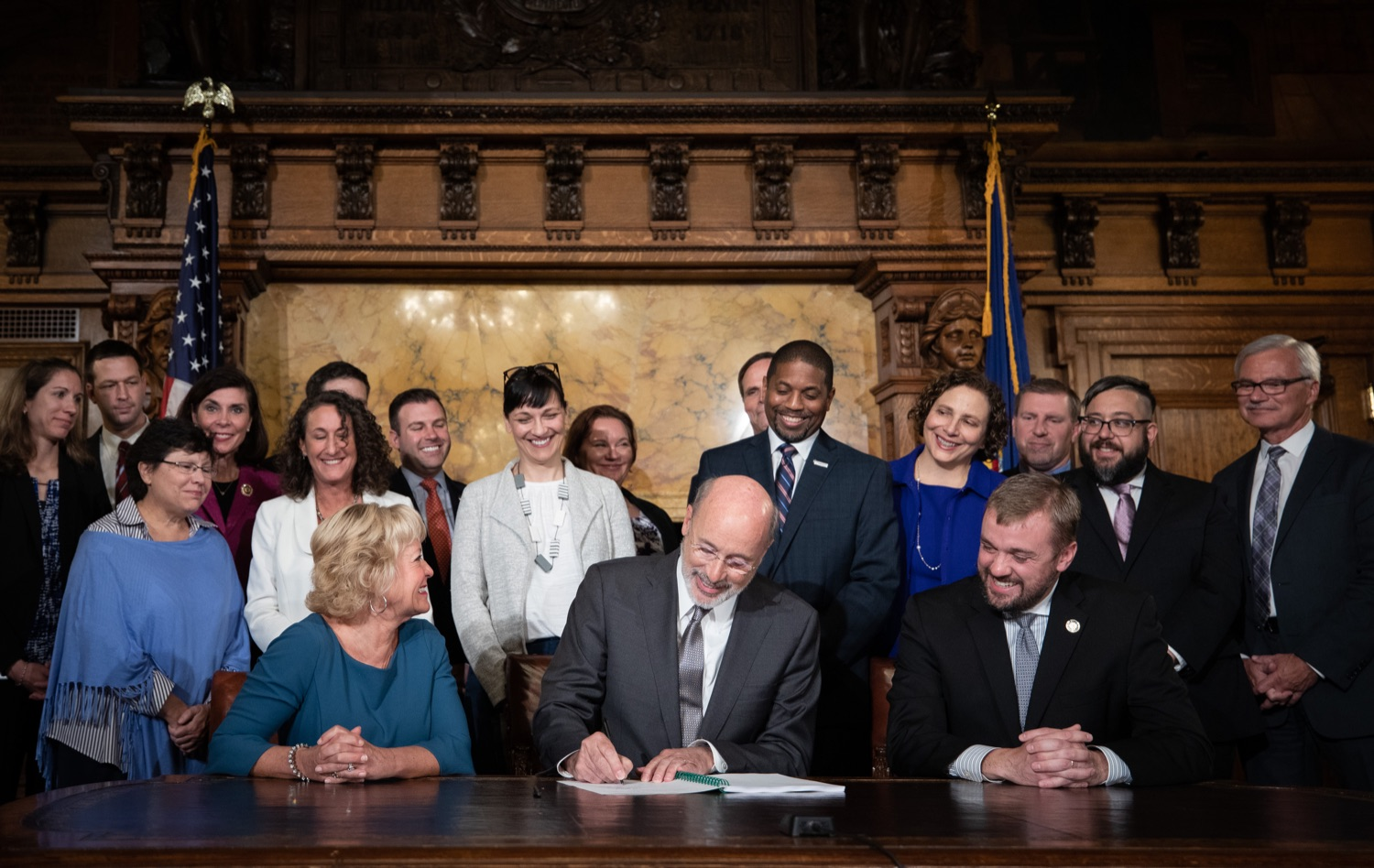 "<a href=""https://filesource.wostreaming.net/commonwealthofpa/photo/17554_gov_voter_reform_bill_dz_001.jpg"" target=""_blank"">⇣ Download Photo<br></a>Harrisburg, PA  Governor Tom Wolf signs the Election Reform Bill. Governor Wolf made voting more convenient and secure by signing Act 77 of 2019, the most significant improvement to Pennsylvanias elections in more than 80 years. The bipartisan compromise legislation takes effect for the April 2020 primary election and makes Pennsylvania a national leader with voter-friendly election reforms."