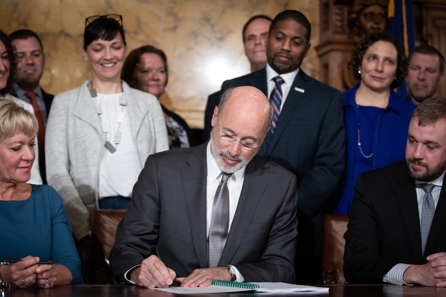 "<a href=""https://filesource.wostreaming.net/commonwealthofpa/photo/17554_gov_voter_reform_bill_dz_004.jpg"" target=""_blank"">⇣ Download Photo<br></a>Harrisburg, PA  Governor Tom Wolf signs the Election Reform Bill. Governor Wolf made voting more convenient and secure by signing Act 77 of 2019, the most significant improvement to Pennsylvanias elections in more than 80 years. The bipartisan compromise legislation takes effect for the April 2020 primary election and makes Pennsylvania a national leader with voter-friendly election reforms."