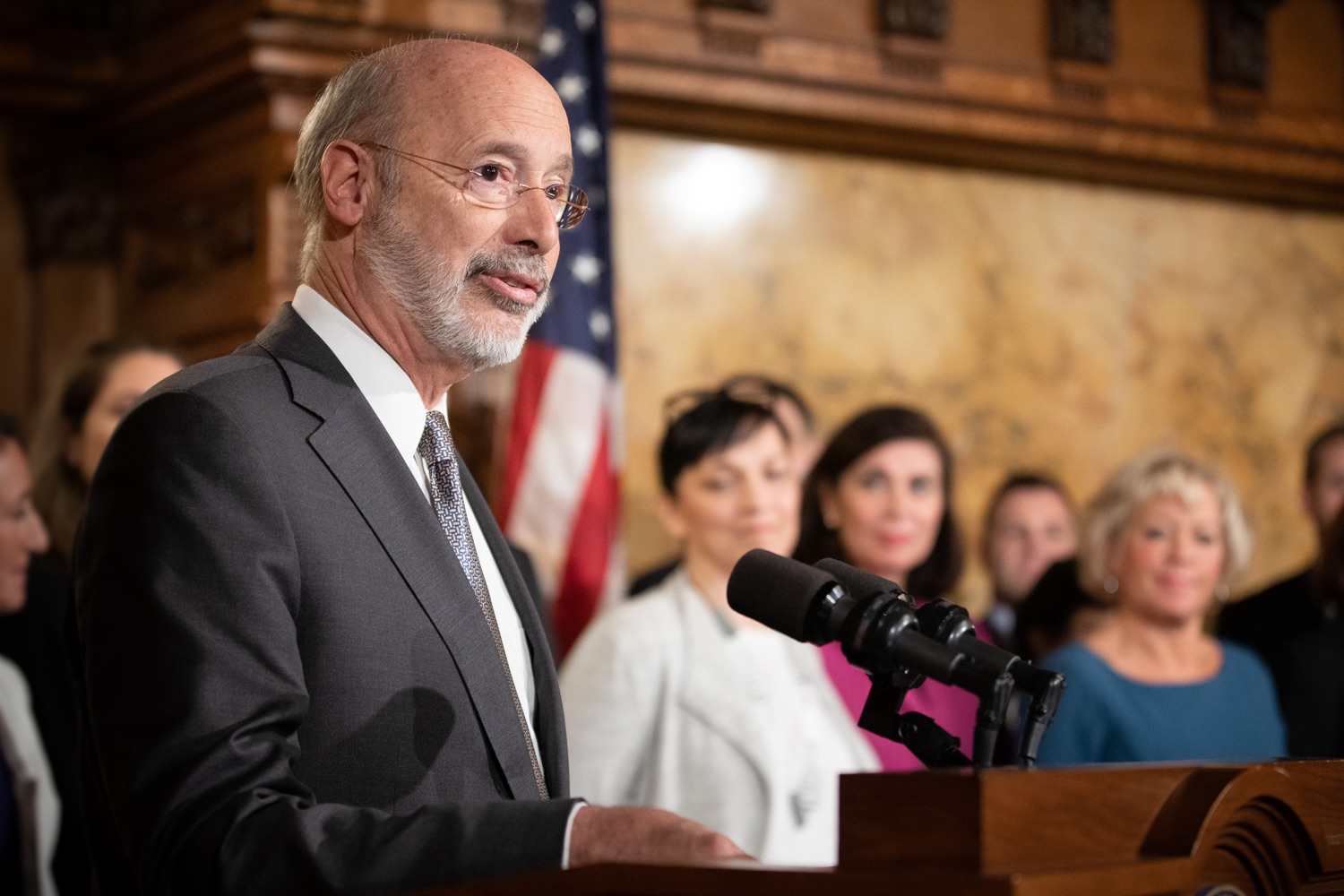 "<a href=""https://filesource.wostreaming.net/commonwealthofpa/photo/17554_gov_voter_reform_bill_dz_005.jpg"" target=""_blank"">⇣ Download Photo<br></a>Harrisburg, PA  Governor Tom Wolf speaks at the Election Reform Bill signing. Governor Wolf made voting more convenient and secure by signing Act 77 of 2019, the most significant improvement to Pennsylvanias elections in more than 80 years. The bipartisan compromise legislation takes effect for the April 2020 primary election and makes Pennsylvania a national leader with voter-friendly election reforms."