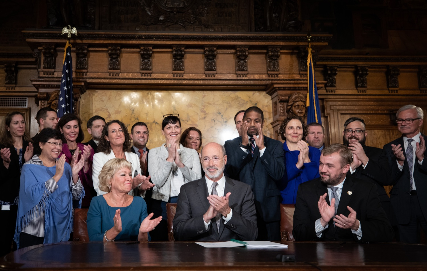 "<a href=""https://filesource.wostreaming.net/commonwealthofpa/photo/17554_gov_voter_reform_bill_dz_008.jpg"" target=""_blank"">⇣ Download Photo<br></a>Harrisburg, PA  Governor Tom Wolf signs the Election Reform Bill. Governor Wolf made voting more convenient and secure by signing Act 77 of 2019, the most significant improvement to Pennsylvanias elections in more than 80 years. The bipartisan compromise legislation takes effect for the April 2020 primary election and makes Pennsylvania a national leader with voter-friendly election reforms."