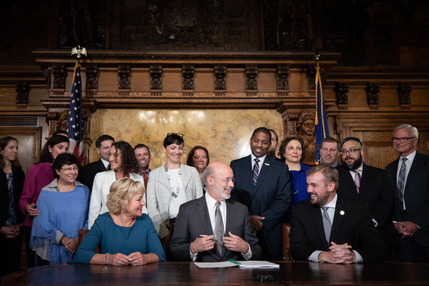 "<a href=""https://filesource.wostreaming.net/commonwealthofpa/photo/17554_gov_voter_reform_bill_dz_012.jpg"" target=""_blank"">⇣ Download Photo<br></a>Harrisburg, PA  Governor Tom Wolf signs the Election Reform Bill. Governor Wolf made voting more convenient and secure by signing Act 77 of 2019, the most significant improvement to Pennsylvanias elections in more than 80 years. The bipartisan compromise legislation takes effect for the April 2020 primary election and makes Pennsylvania a national leader with voter-friendly election reforms."