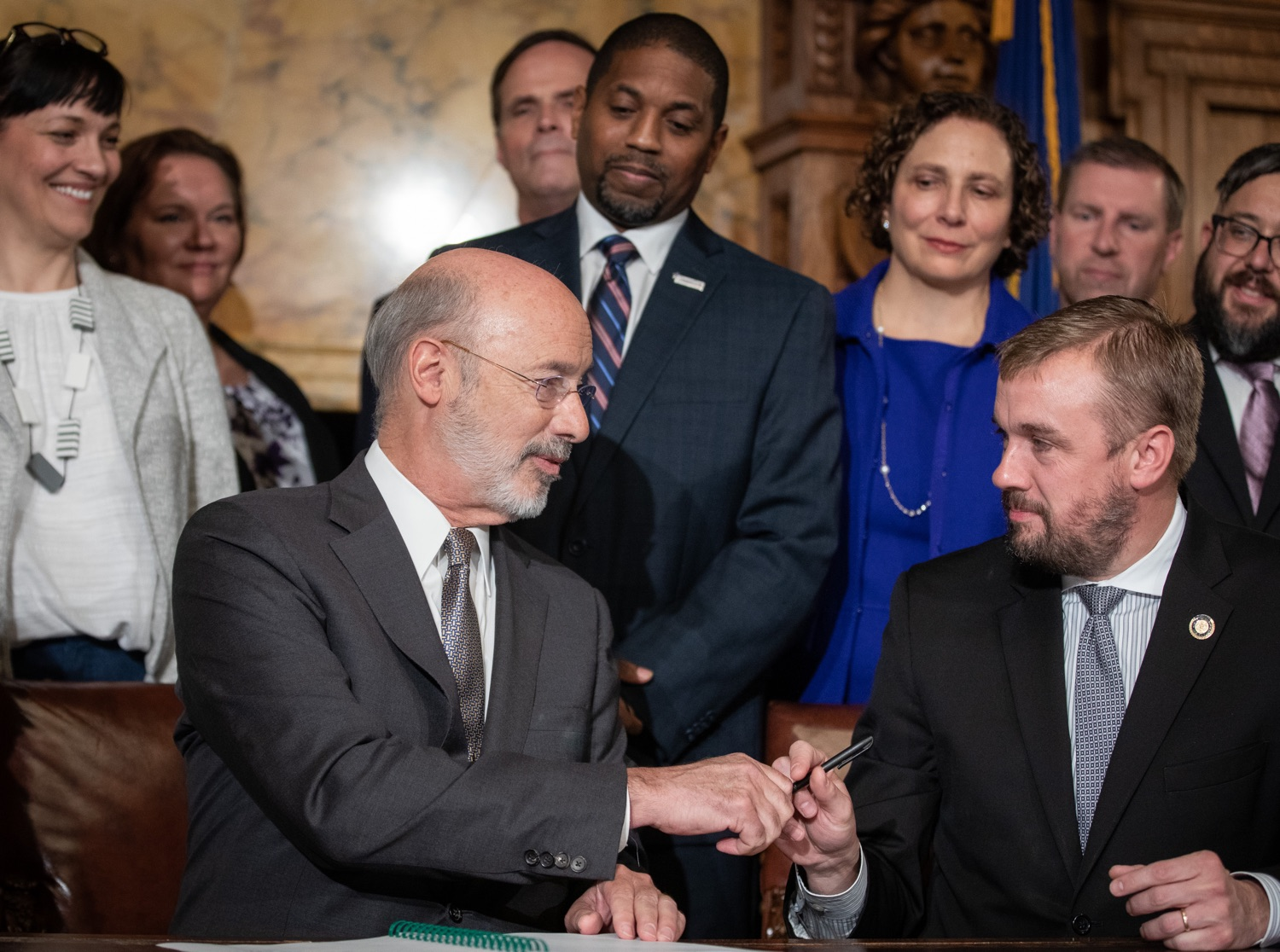 "<a href=""https://filesource.wostreaming.net/commonwealthofpa/photo/17554_gov_voter_reform_bill_dz_013.jpg"" target=""_blank"">⇣ Download Photo<br></a>Harrisburg, PA  Governor Tom Wolf signs the Election Reform Bill. Governor Wolf made voting more convenient and secure by signing Act 77 of 2019, the most significant improvement to Pennsylvanias elections in more than 80 years. The bipartisan compromise legislation takes effect for the April 2020 primary election and makes Pennsylvania a national leader with voter-friendly election reforms."