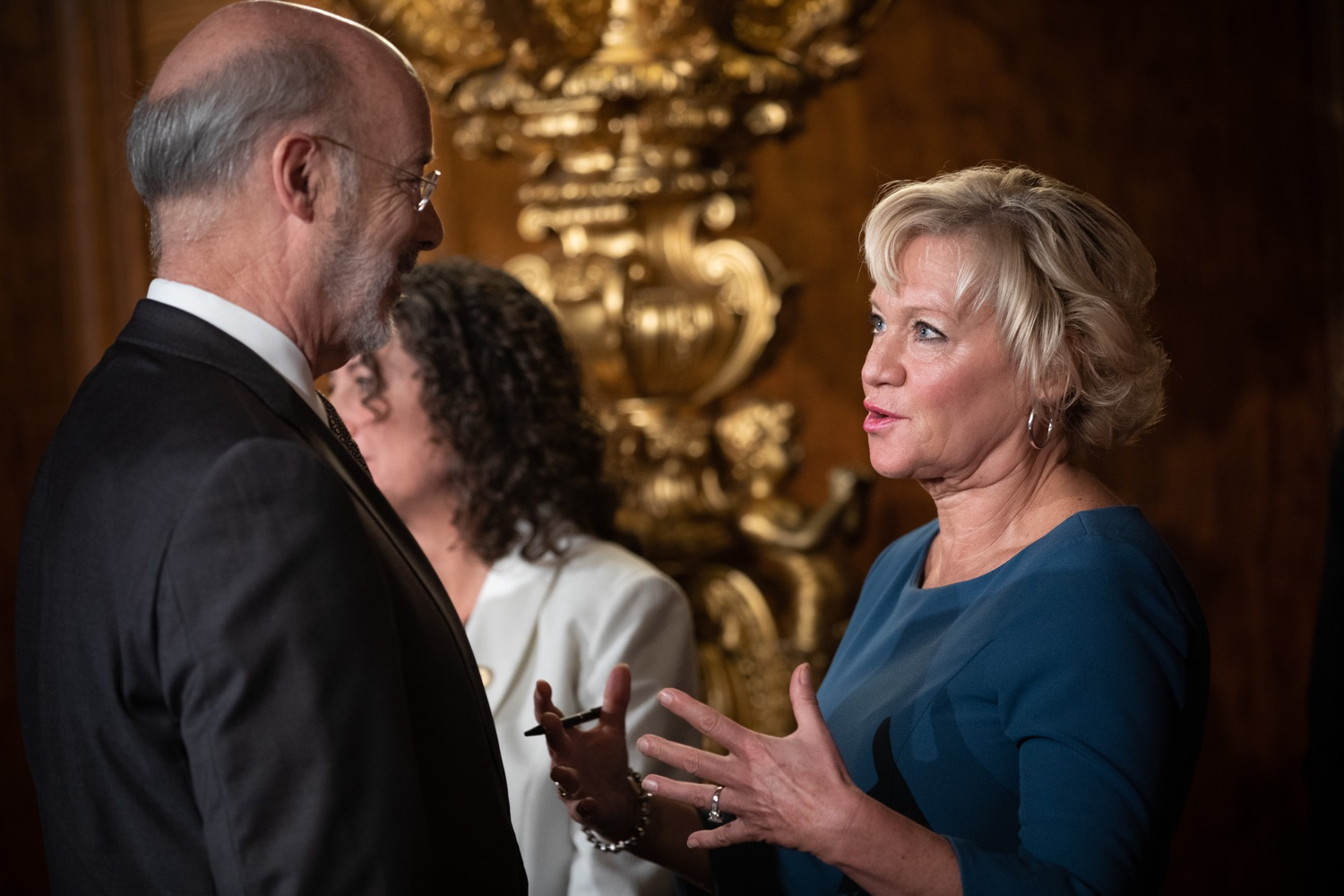 "<a href=""https://filesource.wostreaming.net/commonwealthofpa/photo/17554_gov_voter_reform_bill_dz_015.jpg"" target=""_blank"">⇣ Download Photo<br></a>Harrisburg, PA  Sen. Lisa Boscola and Governor Tom Wolf  at the Election Reform Bill signing. Governor Wolf made voting more convenient and secure by signing Act 77 of 2019, the most significant improvement to Pennsylvanias elections in more than 80 years. The bipartisan compromise legislation takes effect for the April 2020 primary election and makes Pennsylvania a national leader with voter-friendly election reforms."