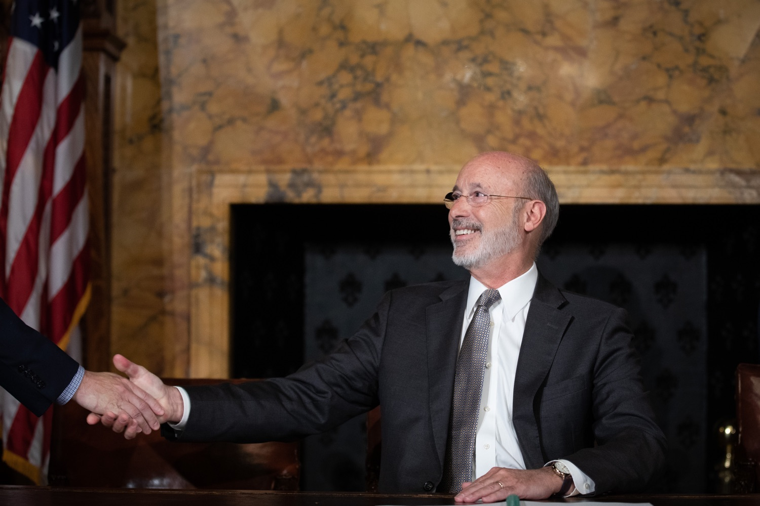 "<a href=""https://filesource.wostreaming.net/commonwealthofpa/photo/17554_gov_voter_reform_bill_dz_016.jpg"" target=""_blank"">⇣ Download Photo<br></a>Harrisburg, PA  Governor Tom Wolf speaks at the Election Reform Bill signing. Governor Wolf made voting more convenient and secure by signing Act 77 of 2019, the most significant improvement to Pennsylvanias elections in more than 80 years. The bipartisan compromise legislation takes effect for the April 2020 primary election and makes Pennsylvania a national leader with voter-friendly election reforms."